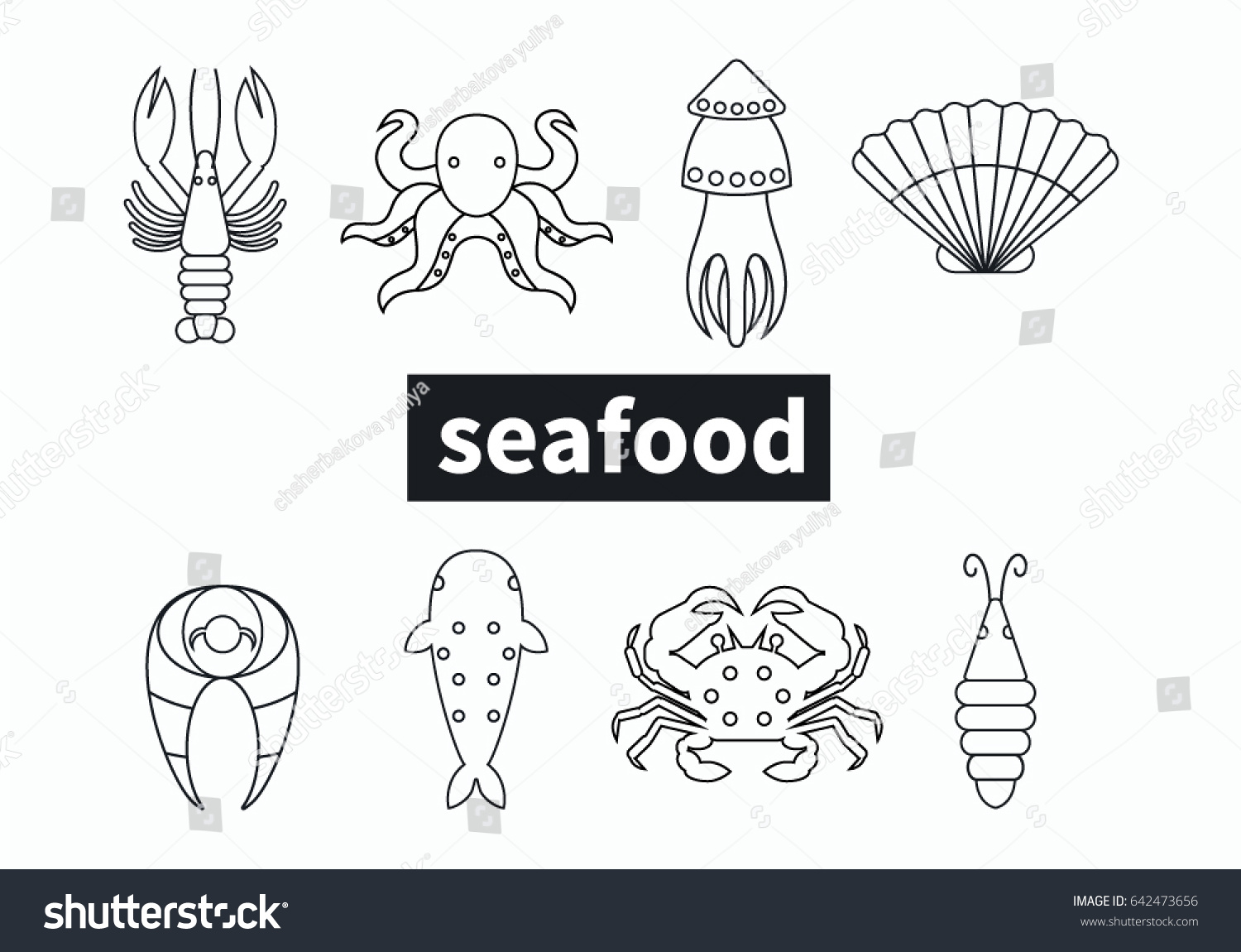 Set line editable unique icons seafood stock vector 642473656 set line editable unique icons seafood in modern style lobster sea shell crab pooptronica