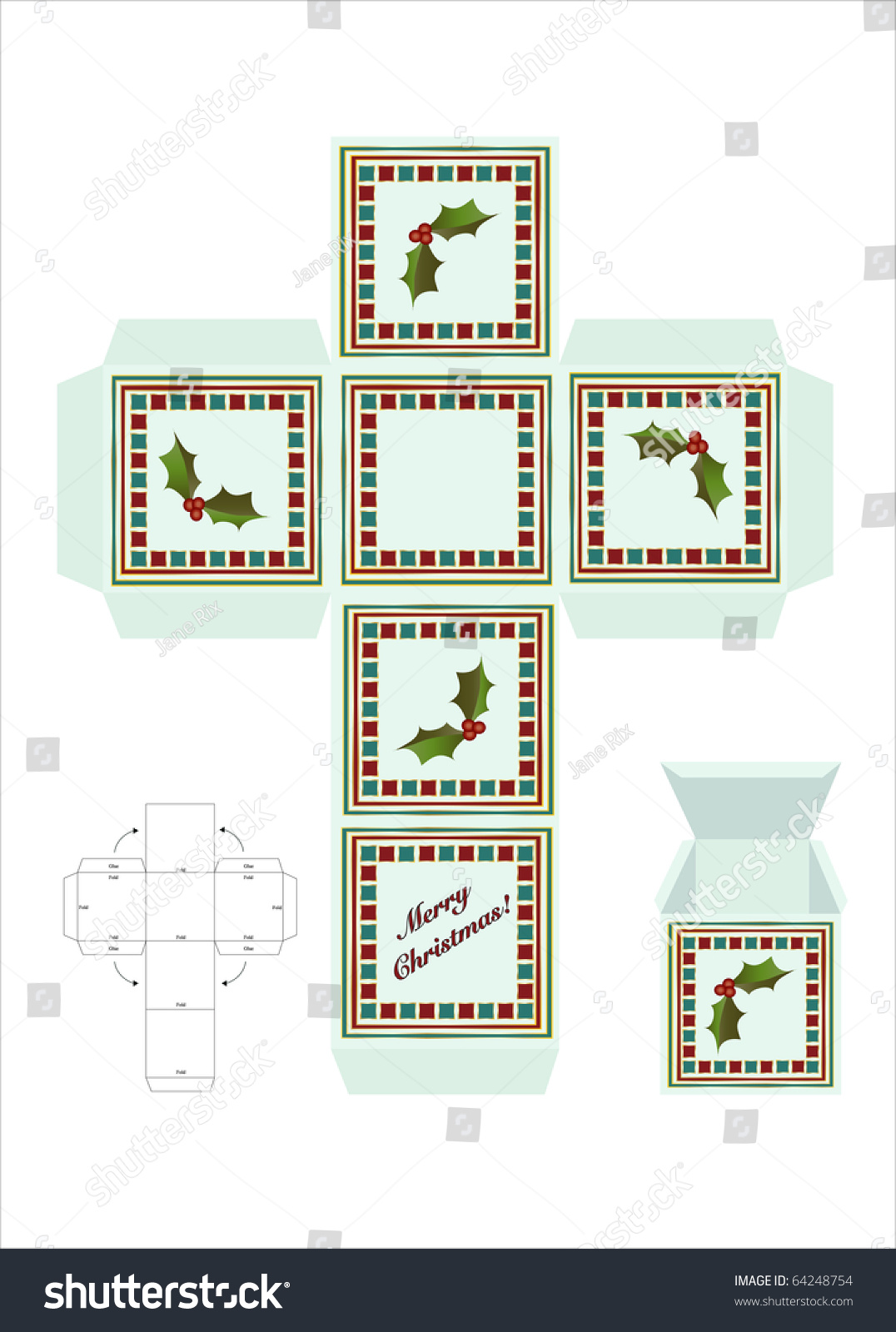 A Christmas Gift Box Cut Out Template With Assembly Instructions Also Available In Vector