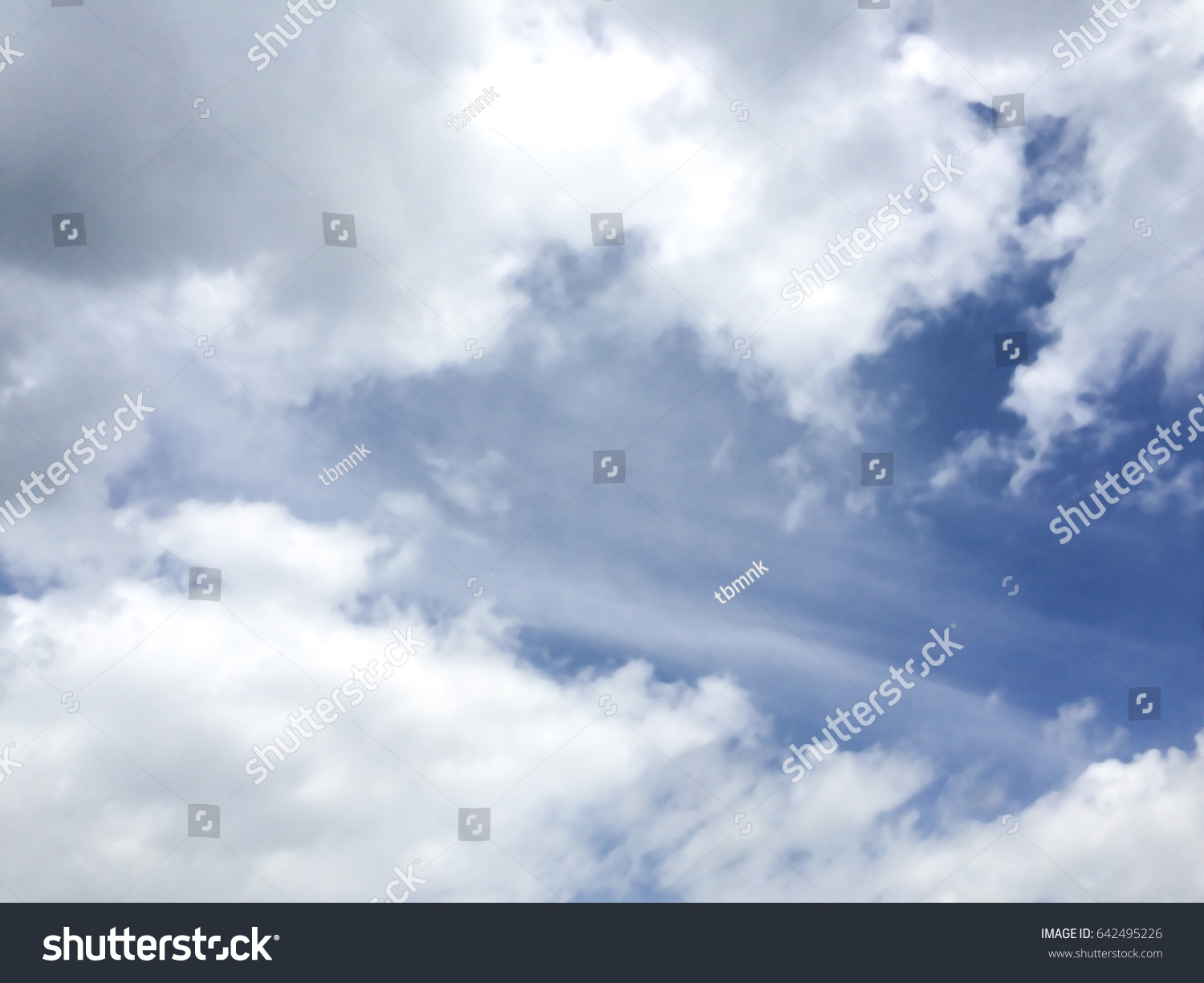 clear blue sky white clouds wallpaper stock photo (edit now