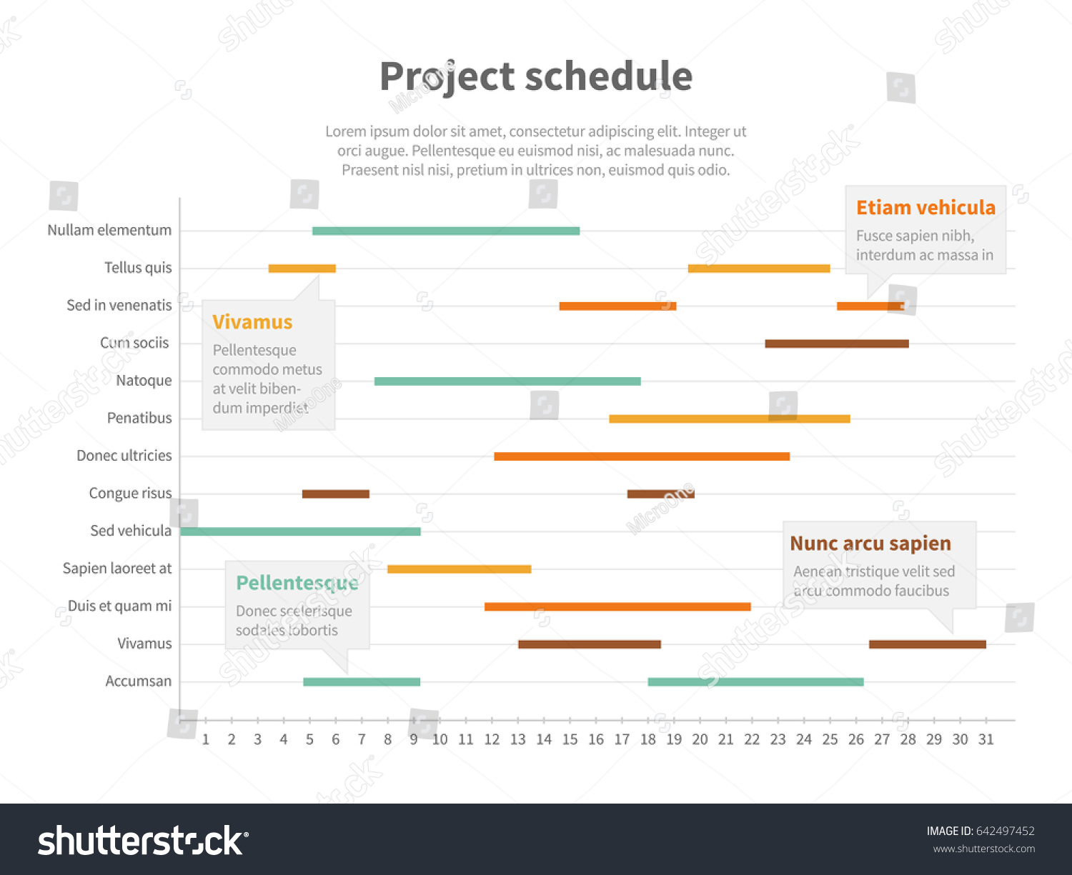 Project plan schedule chart timeline gantt stock illustration project plan schedule chart with timeline gantt progress graph infographic project timeline for business geenschuldenfo Image collections