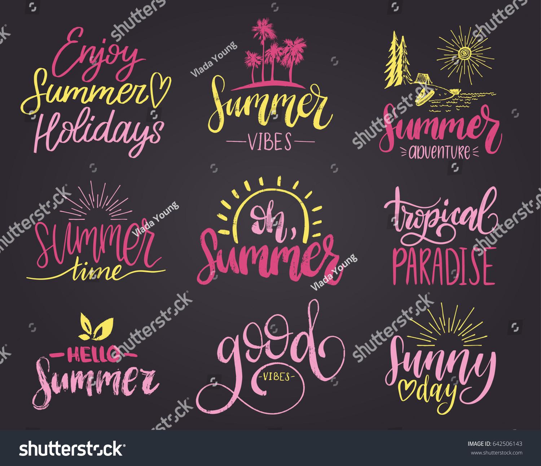 Set Handwritten Inspirational Summer Phrases Vector Stock Vector