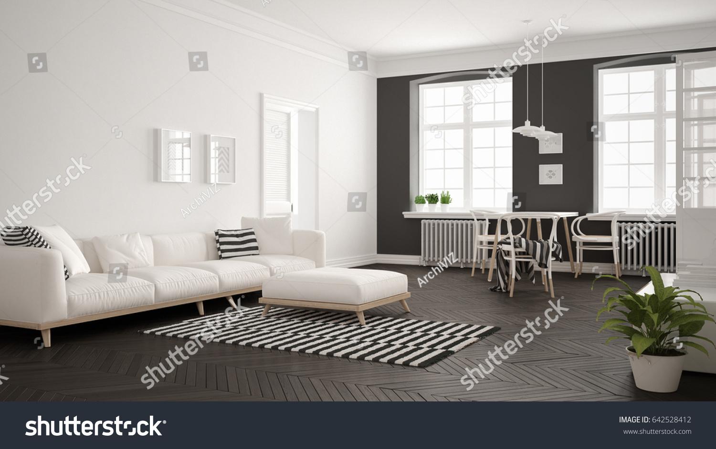 Bright Minimalist Living Room Sofa Dining Stock Illustration ...