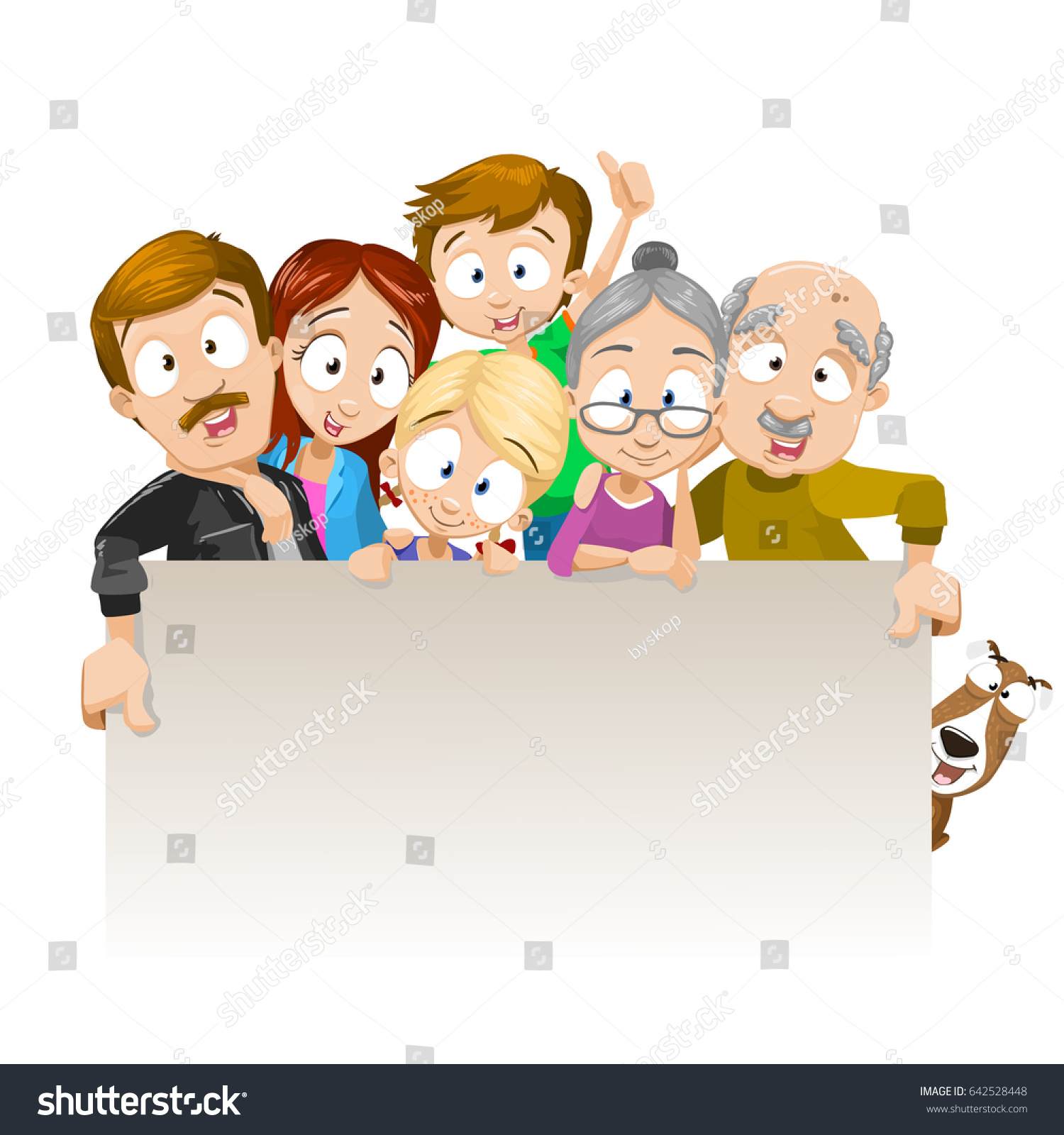 Vector Cartoon Illustration Happy Family Posing Stock Vector Royalty Free 642528448