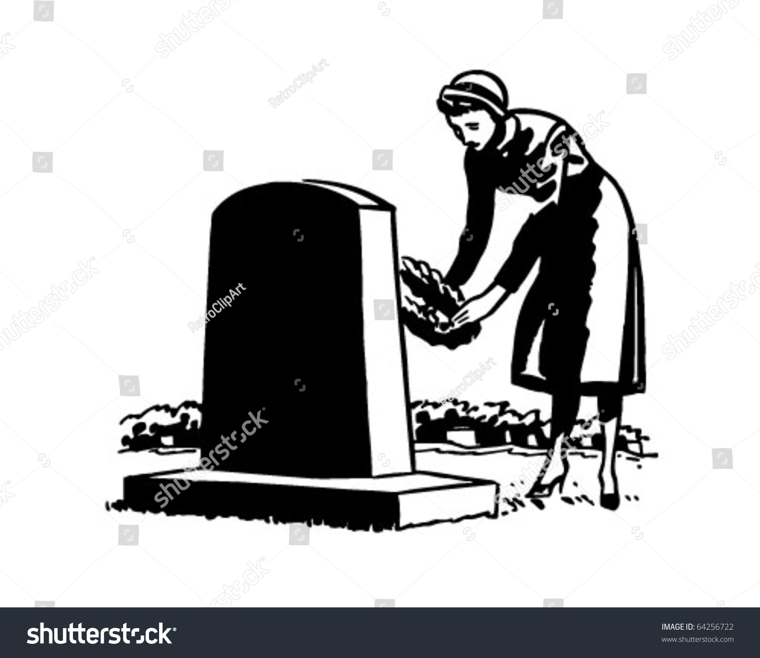 Woman Placing Flowers On Grave Site - Retro Clipart ...
