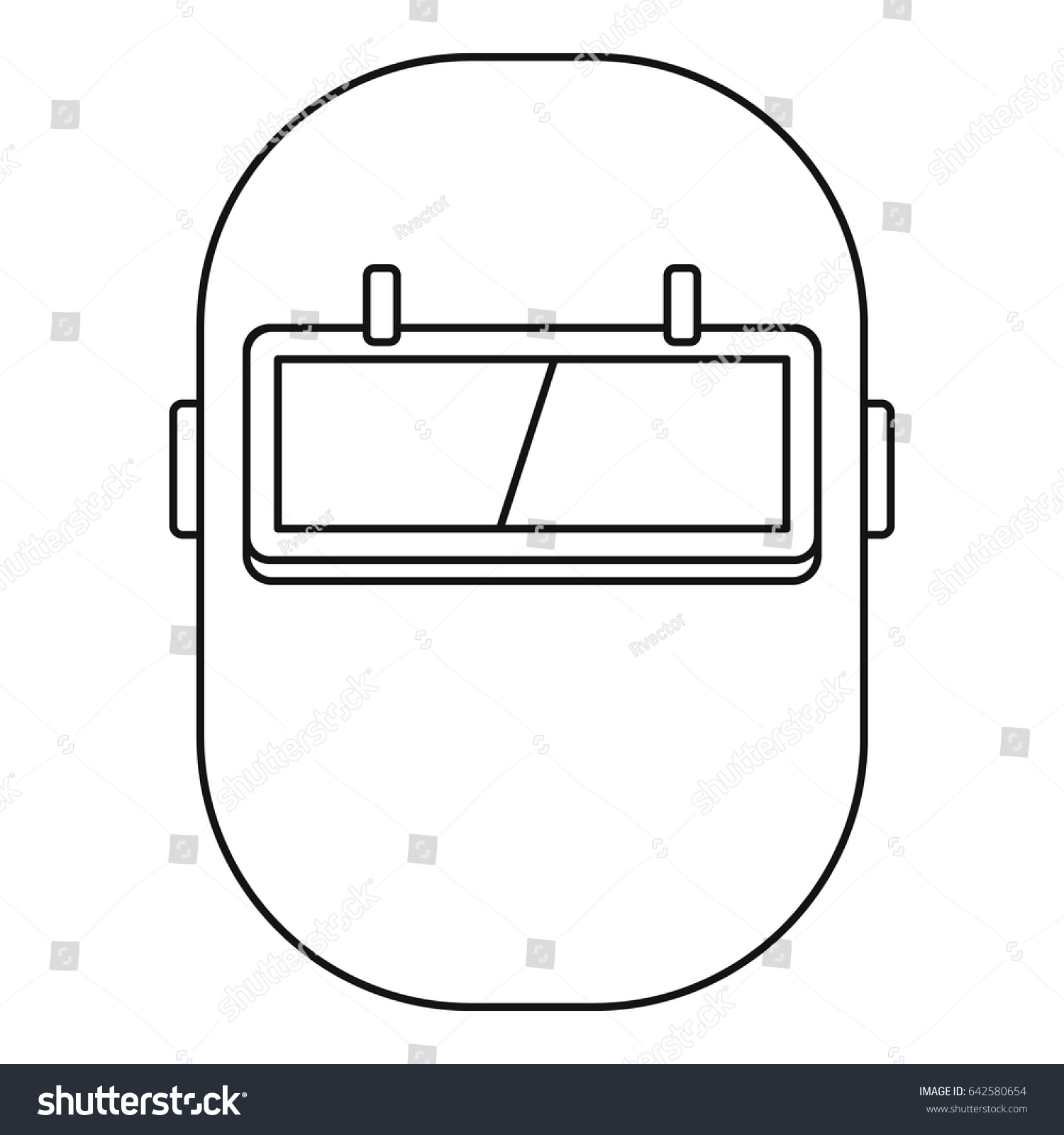 welding shield diagram welding mask icon outline style isolated stock vector  royalty  welding mask icon outline style