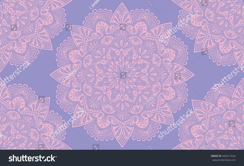 elegant purple pink mandala seamless pattern stock vector 642611632