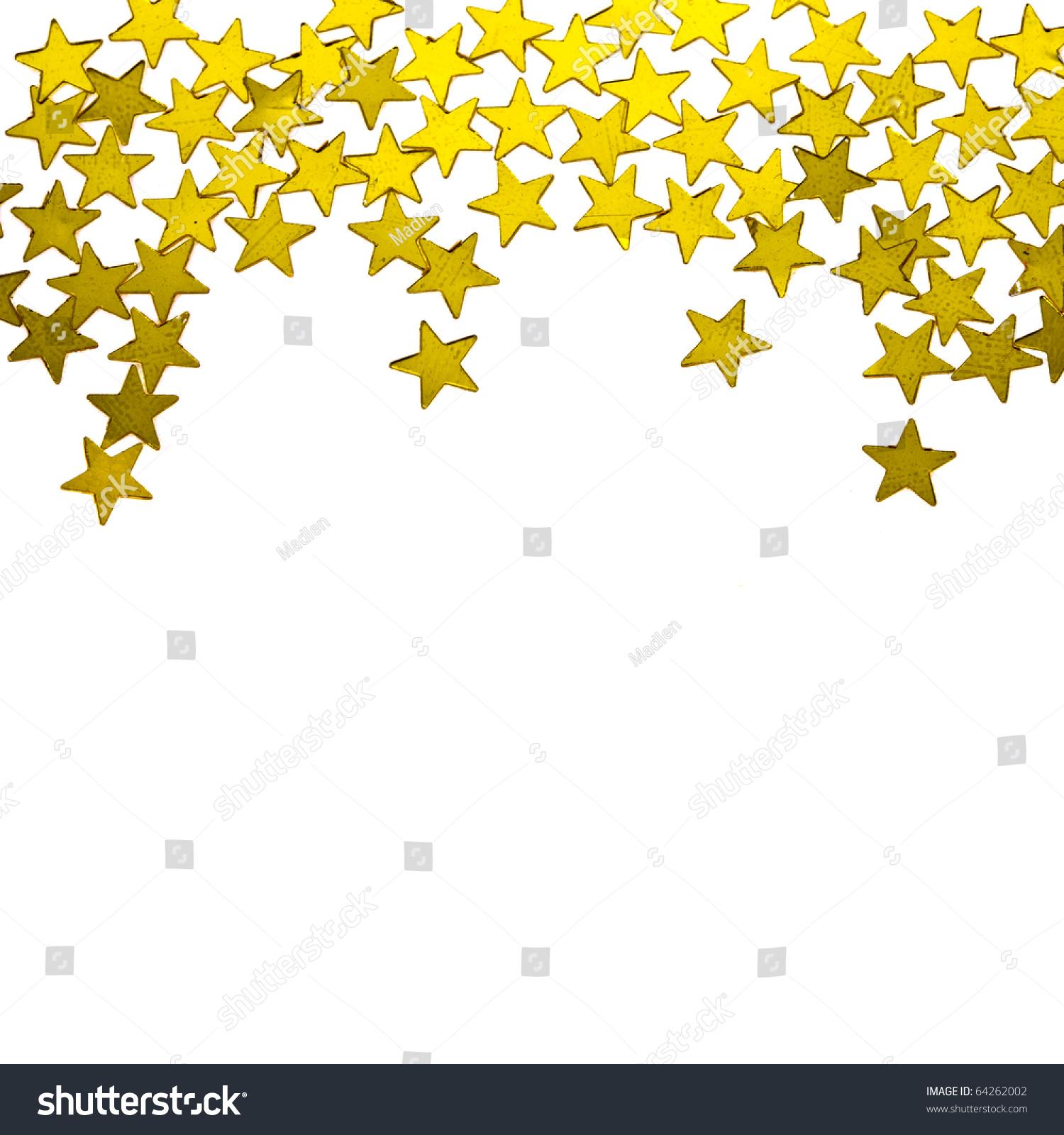 Gold star ornaments - Golden Stars Ornaments On White Background