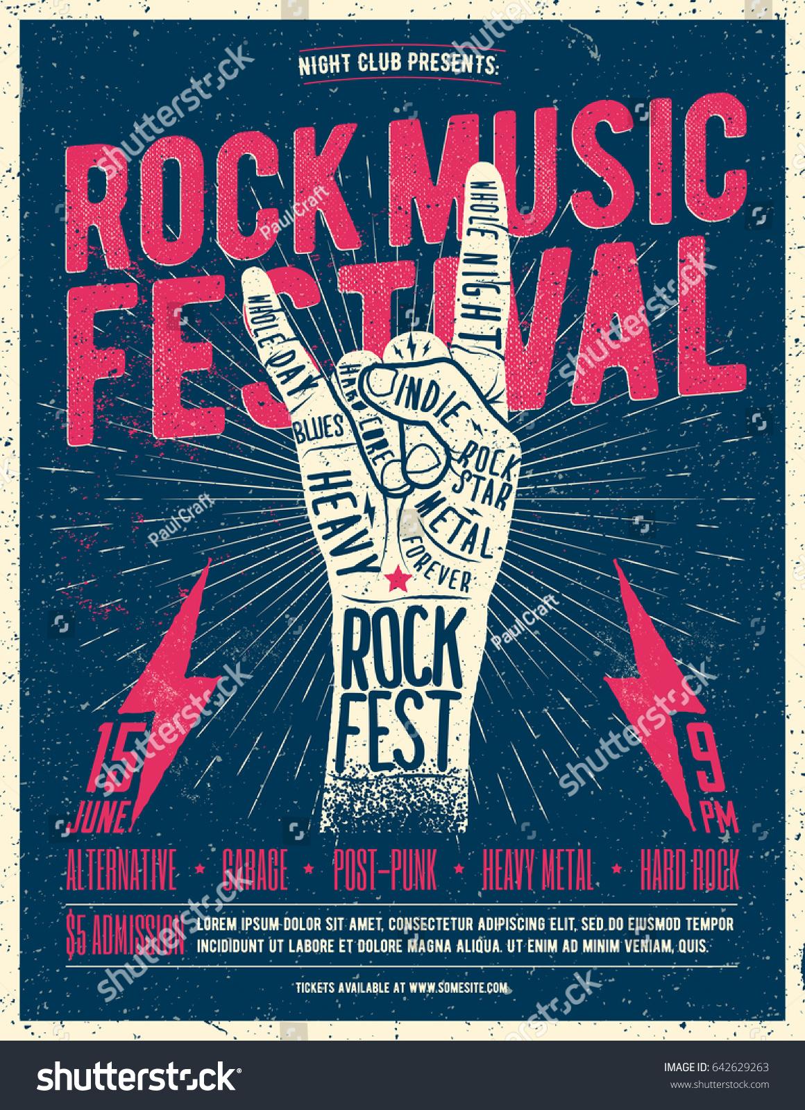 Rock Music Festival Poster Flyer Vintage Stock Vector