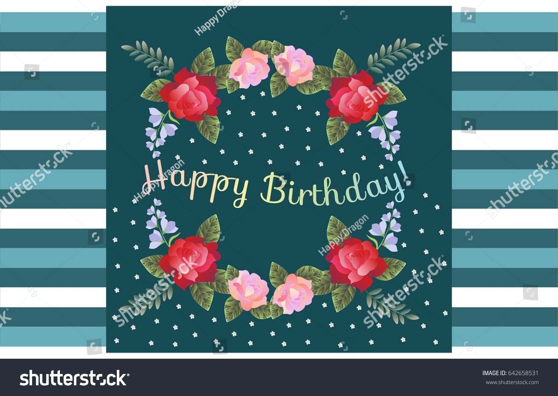 Happy birthday greeting card beautiful flowers stock vector royalty happy birthday greeting card with beautiful flowers on striped background izmirmasajfo