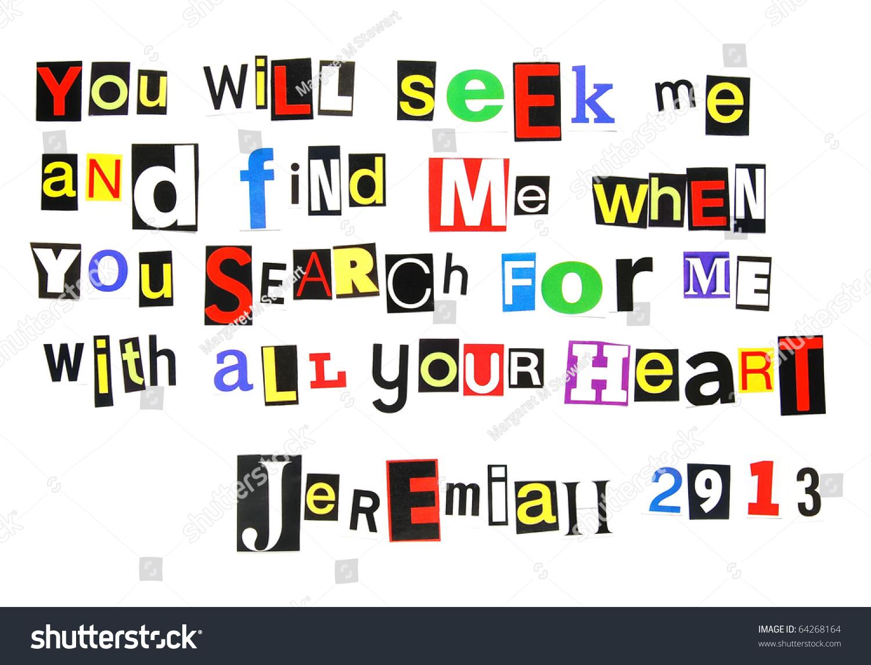 Bible Verse Jeremiah 2913 Written Colorful Stock Photo