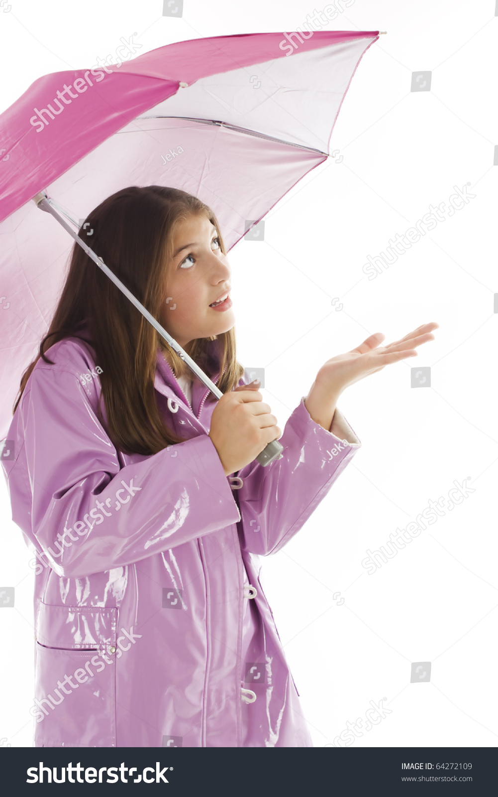 Pretty Young Girl Raincoat Holding Umbrella Stock Photo 64272109