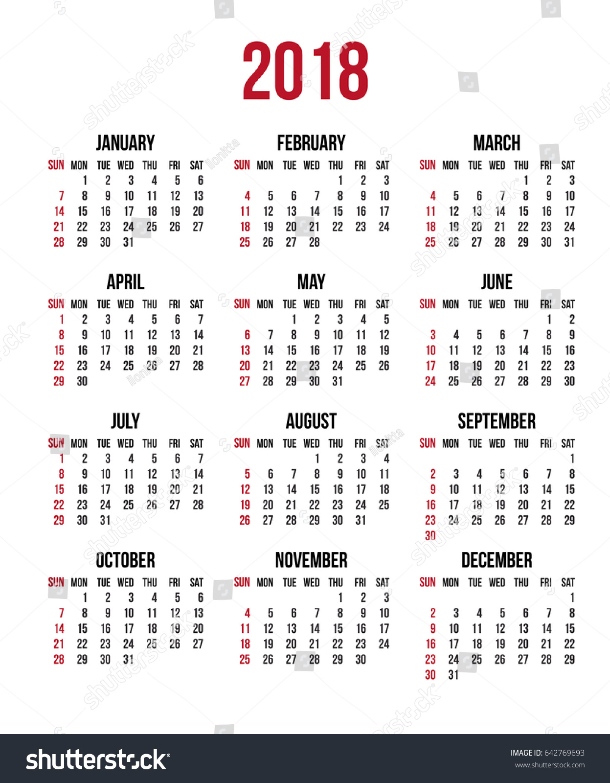 Year Calendar Starting : Calendar year week starts sunday stock vector