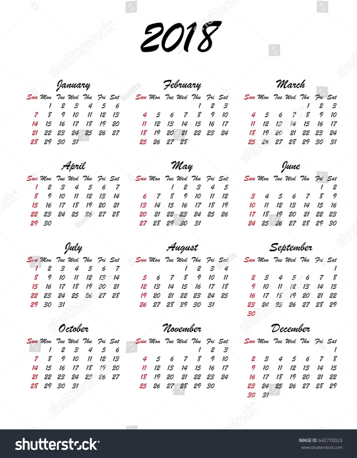 Calendar 2018 Year Week Starts Sunday Stock Vector Royalty Free