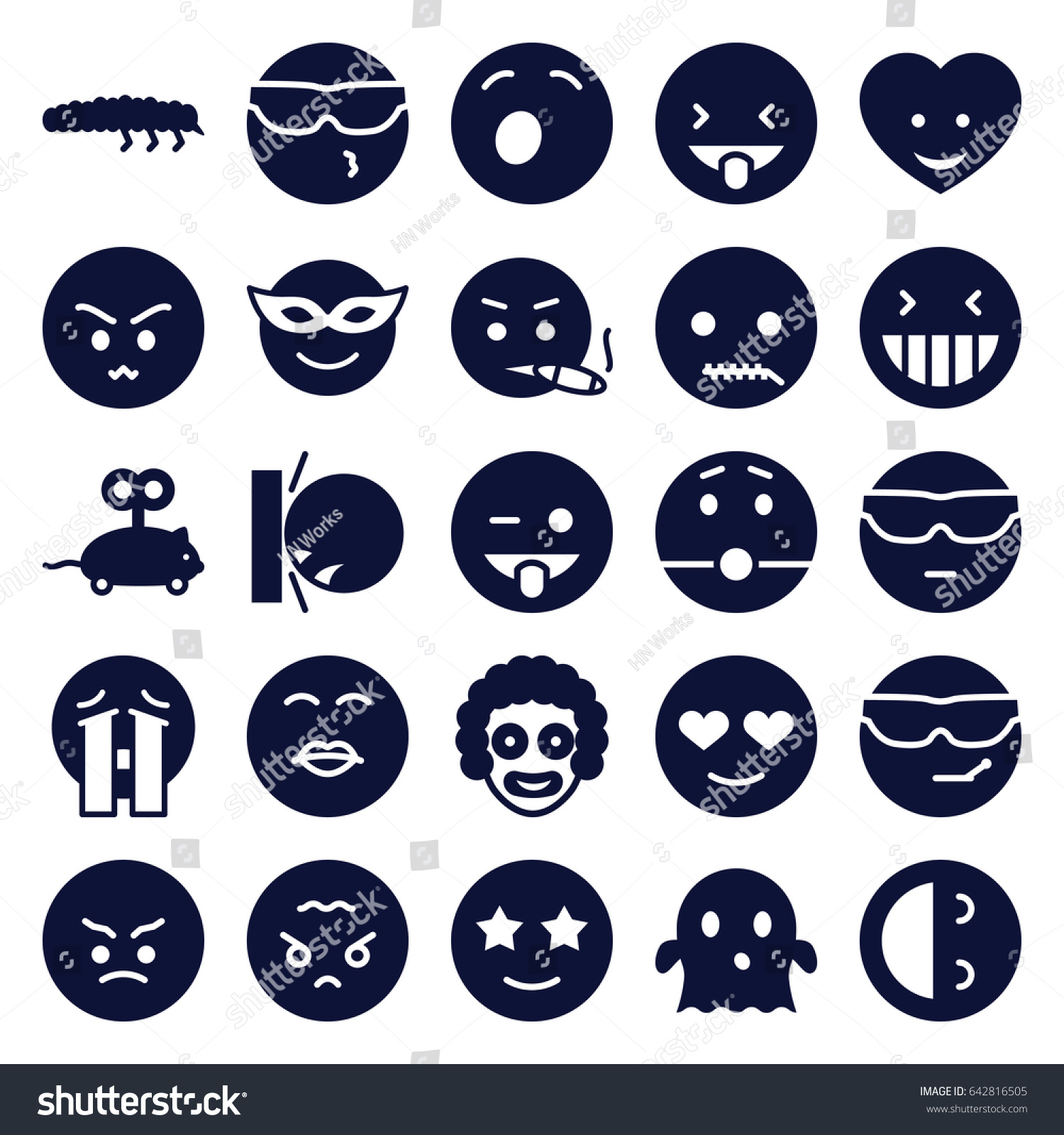 Funny Icons Set Set 25 Funny Stock Vector 642816505 - Shutterstock