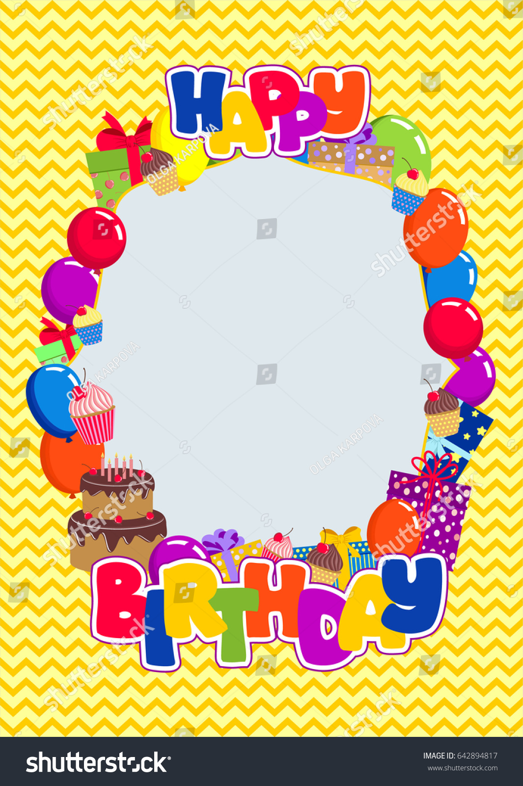 Vector Frame With Lettering Happy Birthday Balloons Gift Boxes Cake Cupcakes On Chevron Pattern In Bright Colors