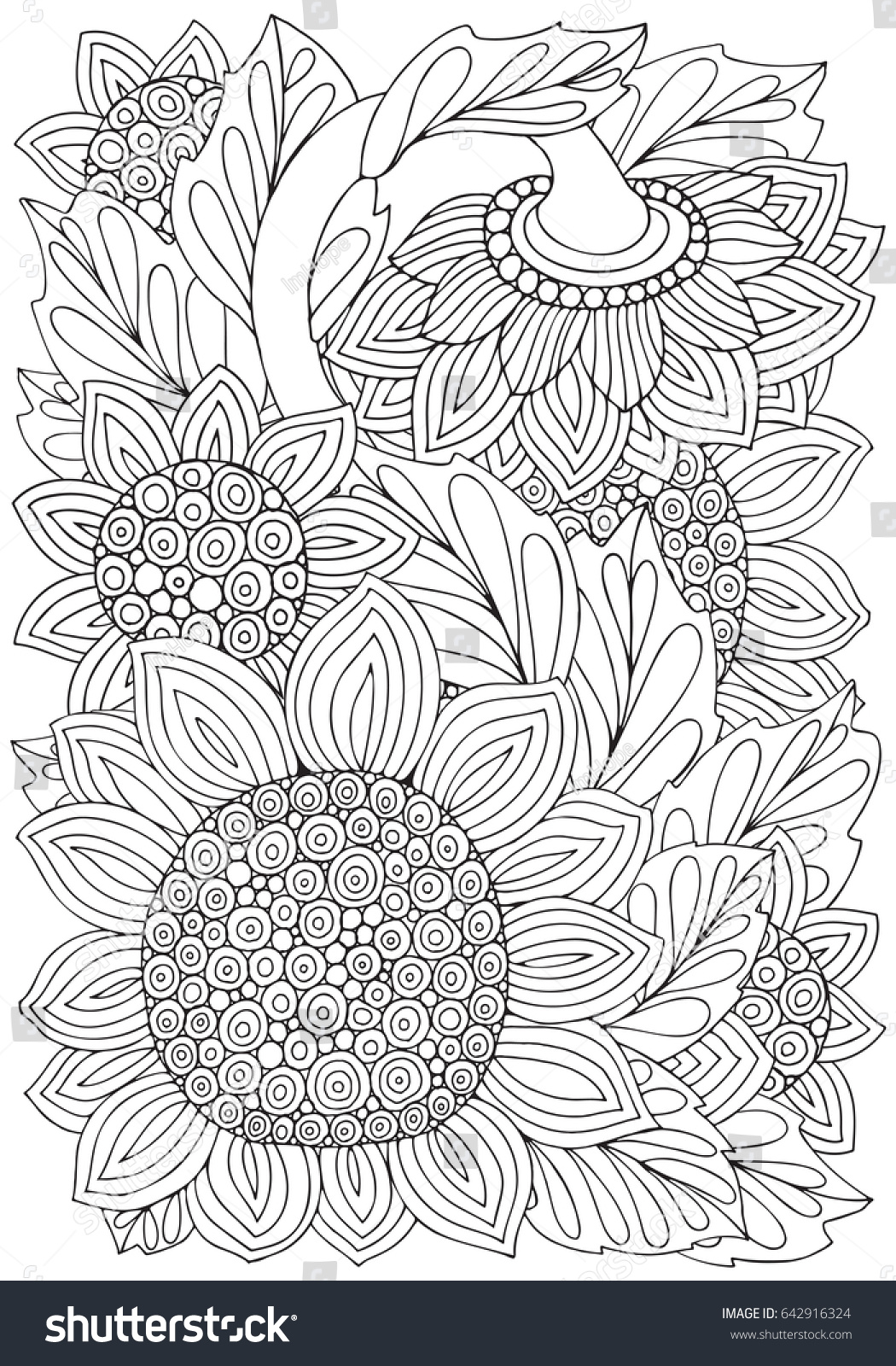 Coloring Pictures Of Sunflowers. Coloring book page with Sunflowers and leaf in zentangle style  A4 size Black Book Page Leaf Zentangle Stock Vector