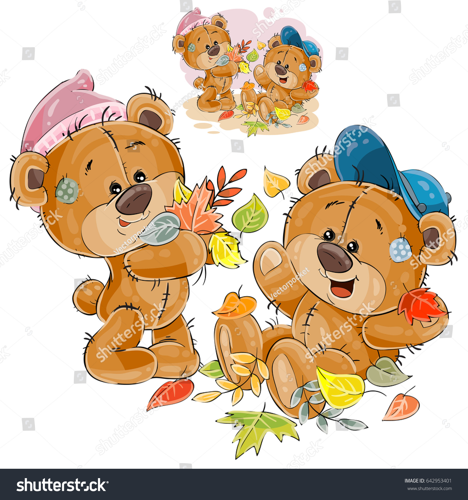 vector illustration two brown teddy bears stock vector royalty free