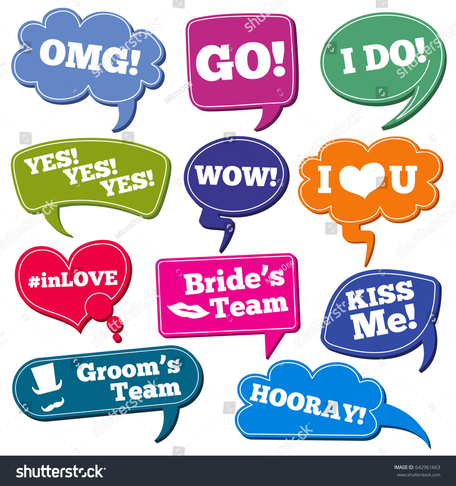 Weddings Phrases Speech Bubbles Props Stock Illustration