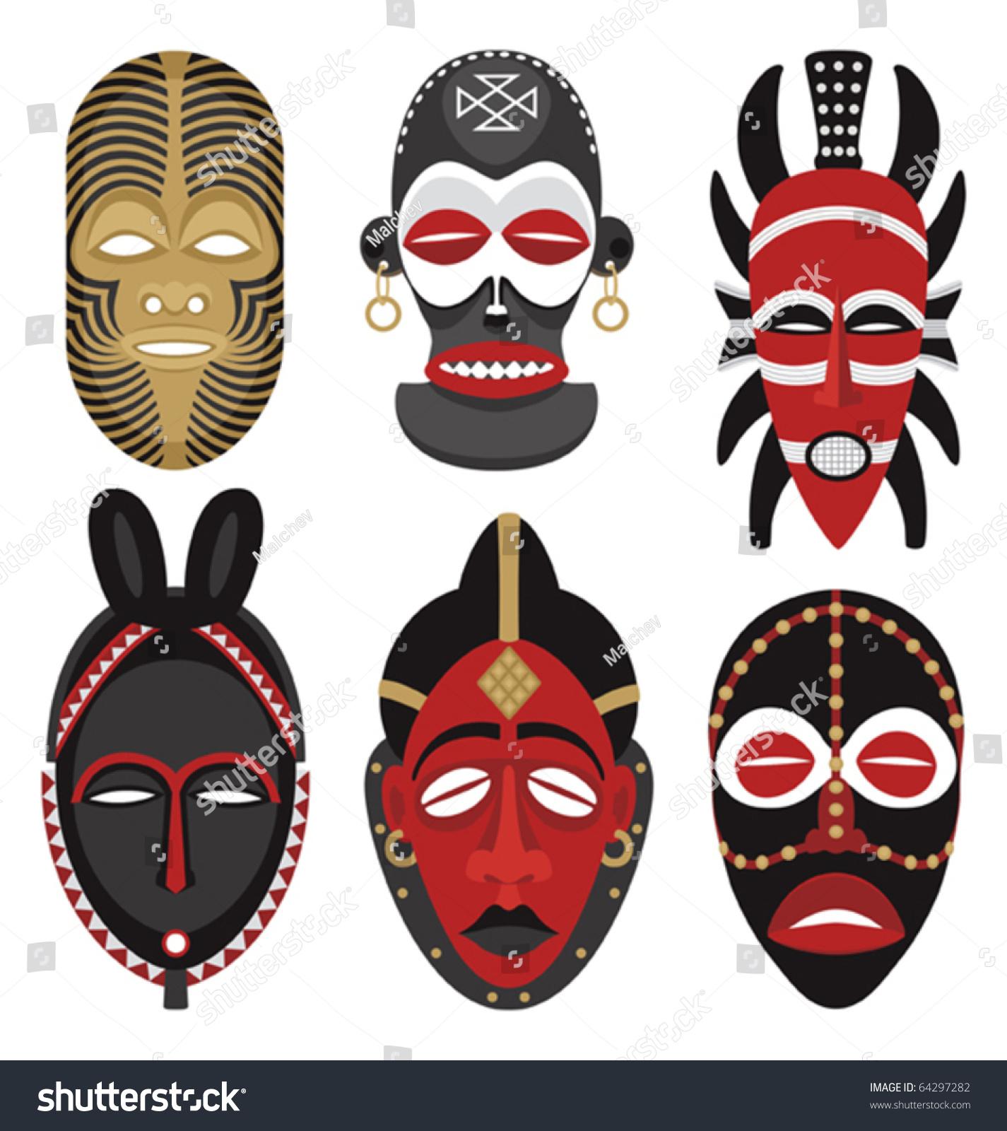 Six African Masks Stock Vector 64297282 - Shutterstock