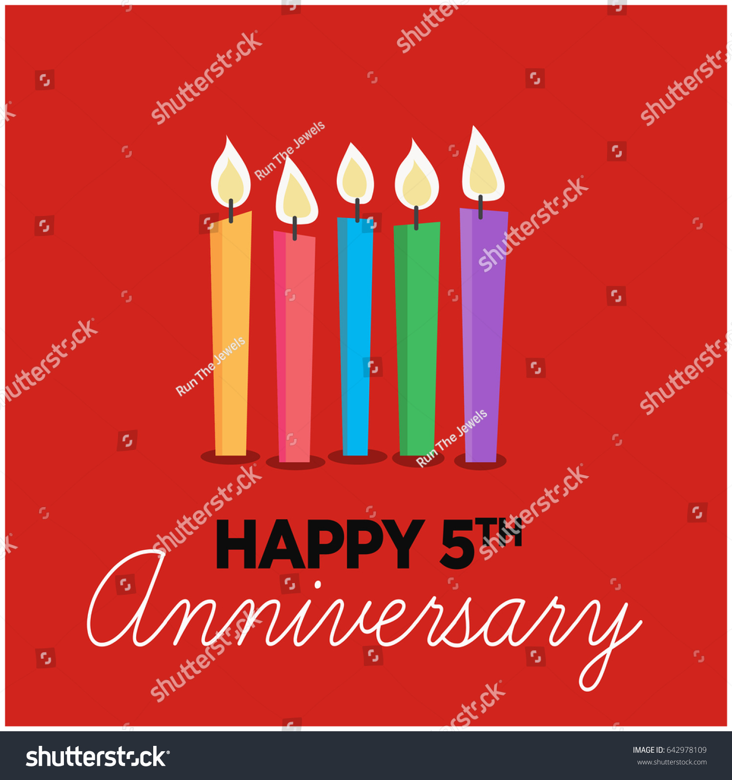 Happy fifth anniversary five candles cute stock vector 642978109 happy fifth anniversary with five candles cute design kristyandbryce Choice Image