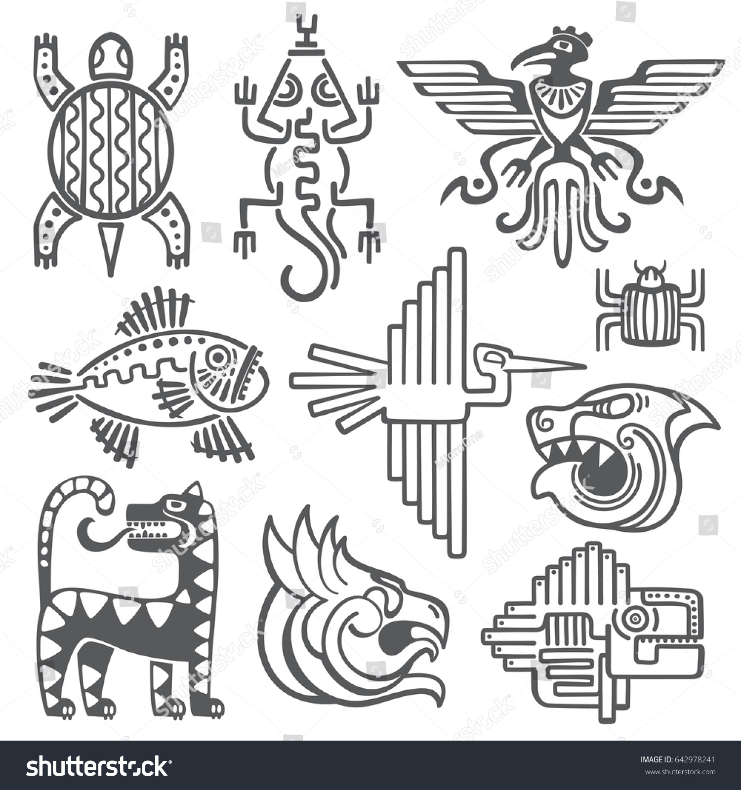 Historic aztec inca symbols mayan temple stock illustration historic aztec inca symbols mayan temple pattern native american culture signs tattoo biocorpaavc