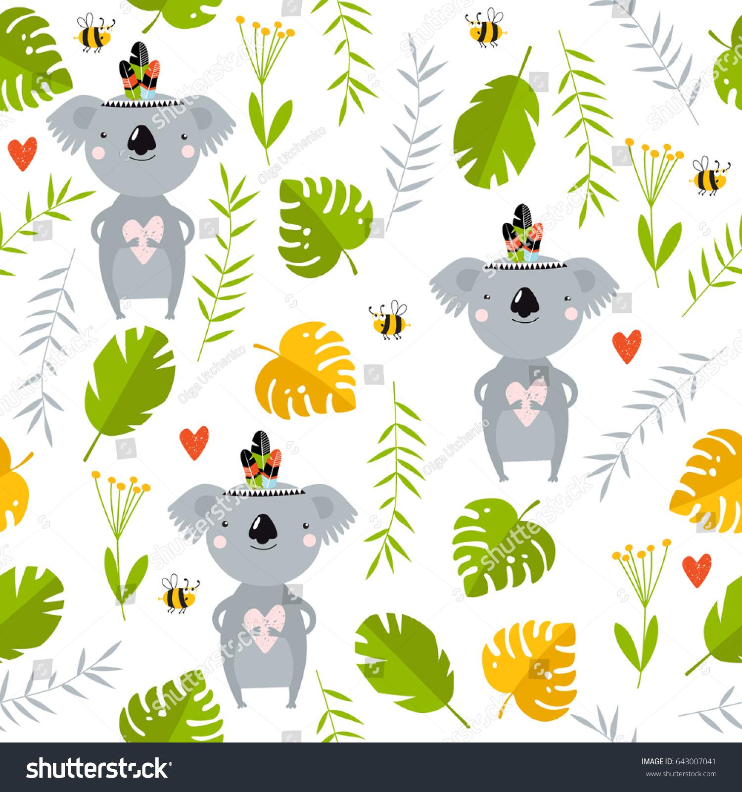 Top Wallpaper Koala Cartoon - stock-vector-vector-tropical-background-with-koalas-australia-cartoon-koalas-koala-is-holding-a-heart-643007041  Best Photo Reference_775832   .jpg