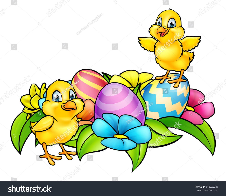 Cartoon Easter Chicks Easter Eggs Spring Stock Illustration