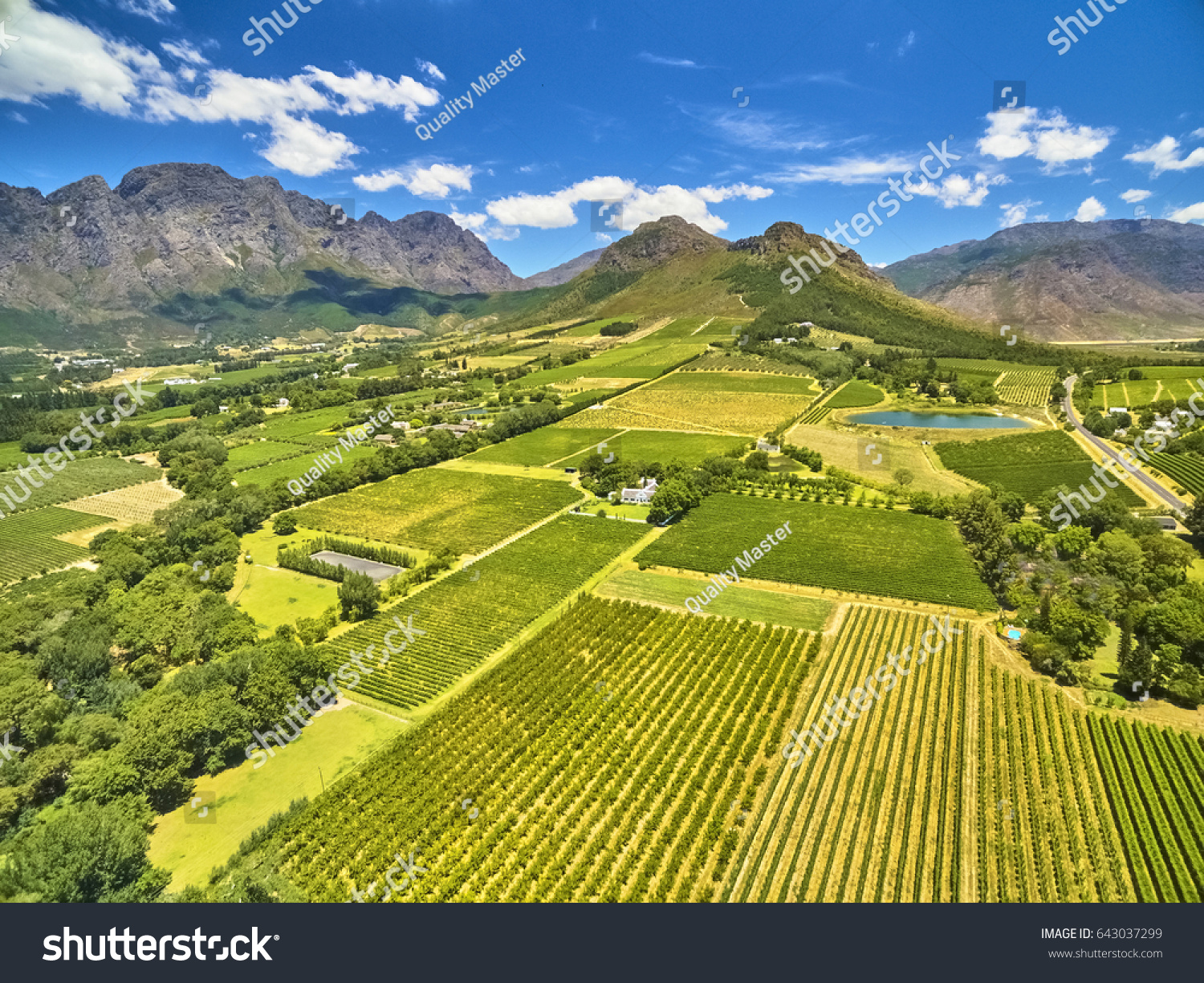 Franschoek winelands and mountain countryside South Africa #643037299