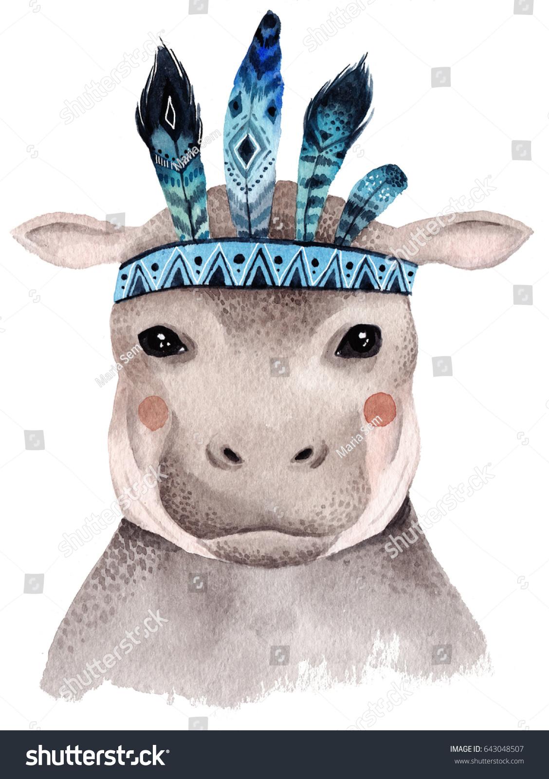 Watercolor Hippo Portrait Cute Boho Design Stock