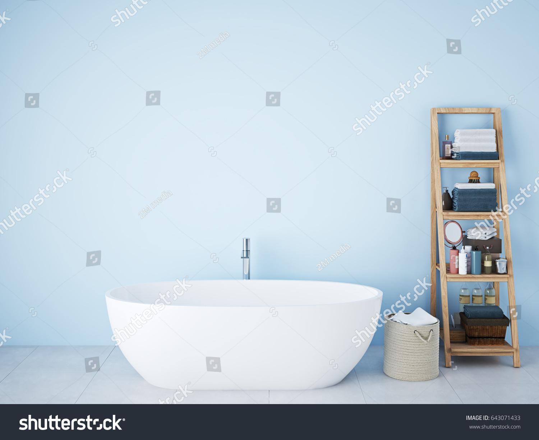 3d Rendering Spa Bathroom Blue Wall Stock Illustration 643071433 ...