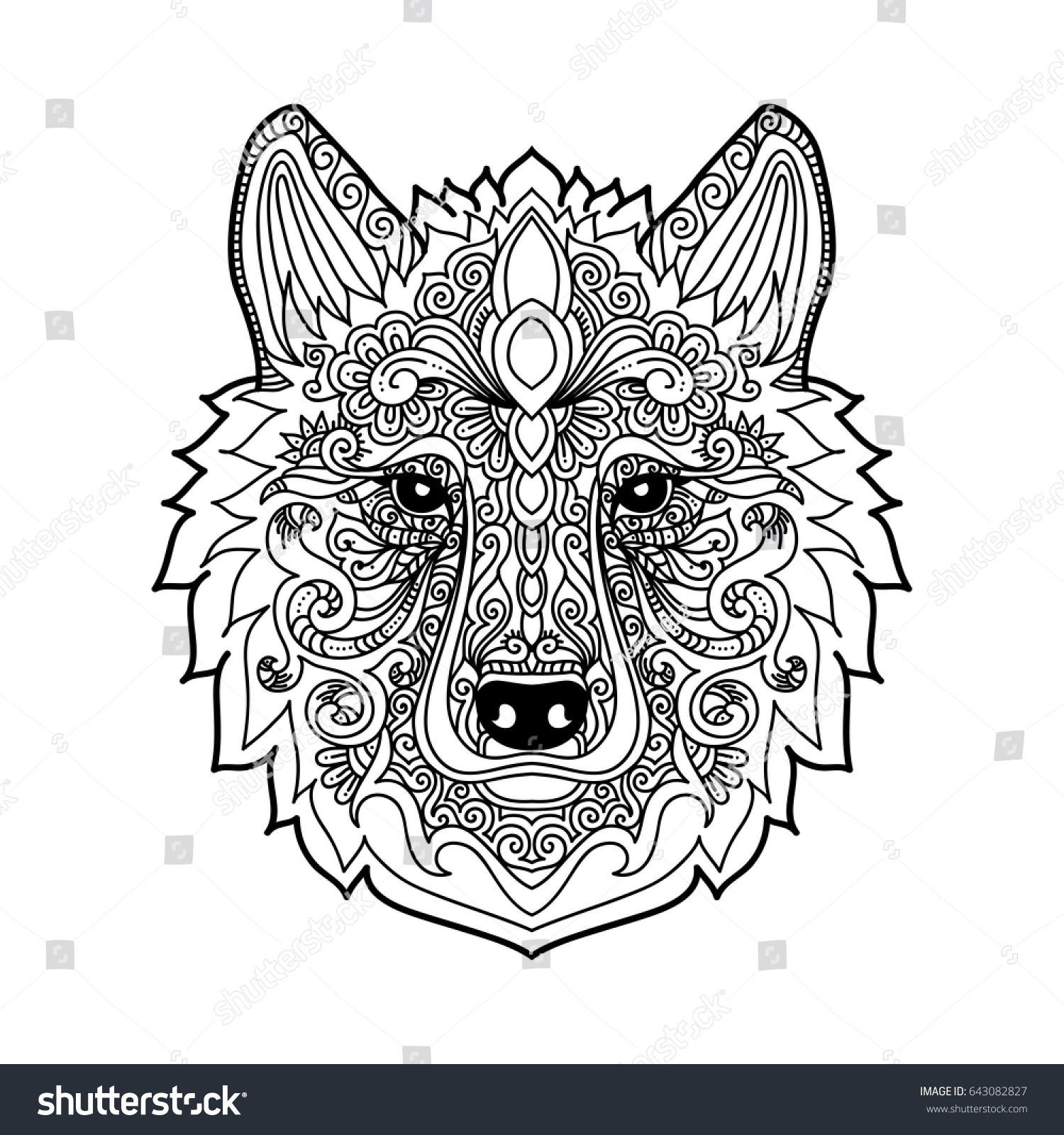 Hand Drawn Wolf Ethnic Floral Doodle Vectores En Stock ...