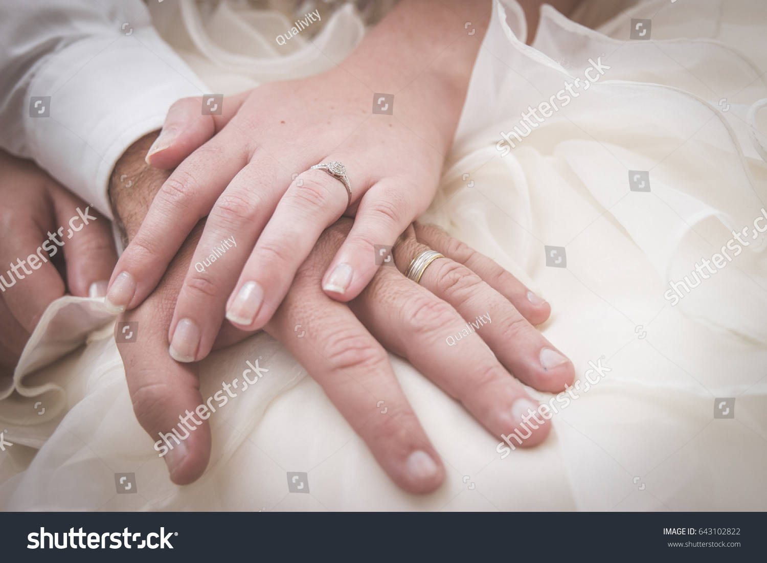 Wedding Couple Sitting Brides Hand On Stock Photo (Safe to Use ...