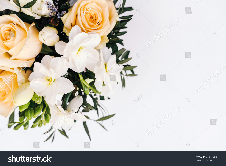 Arrangement Of Fresh Flowers In Box On White Background Ez Canvas