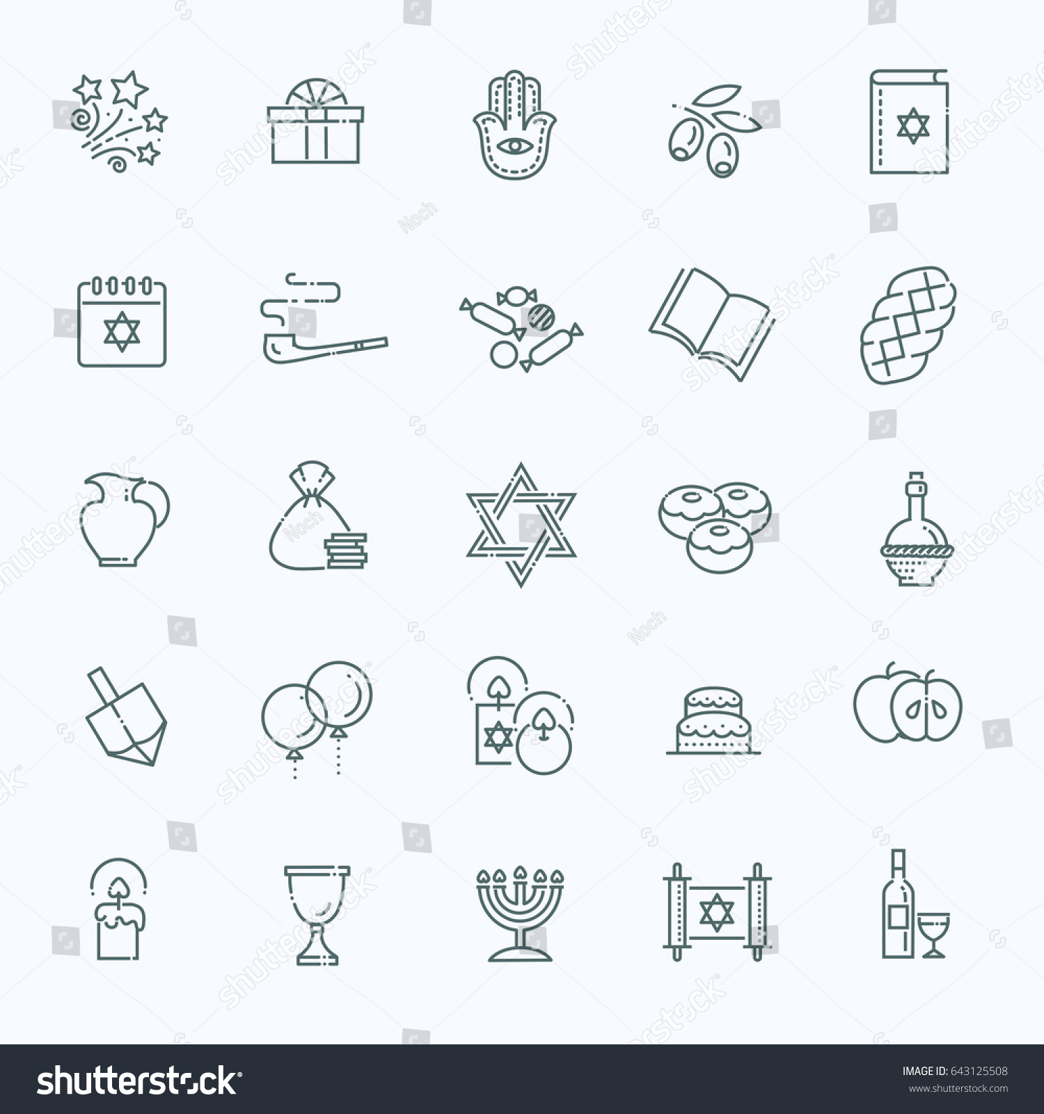 Israel Judaism Icons Collection Line Happy Stock Vector Royalty