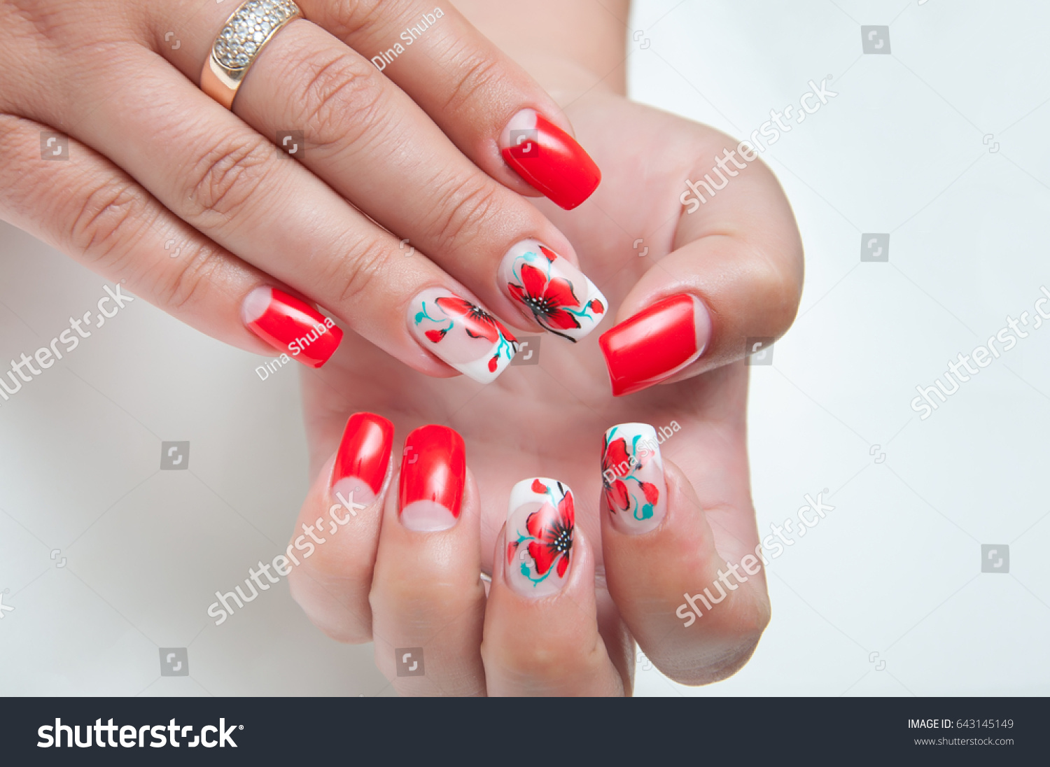 Red Manicure On Long Square Nails Stock Photo (Edit Now) 643145149 ...