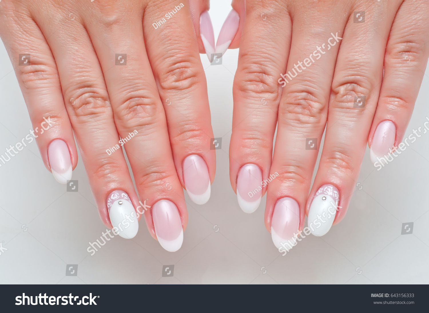 Wedding French Manicure Crystals On Long Stock Photo (Edit Now ...