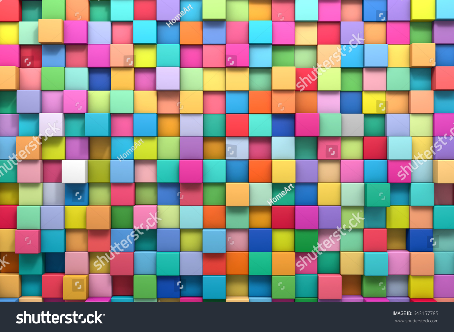 3d rendering abstract background multicolored cubes stock