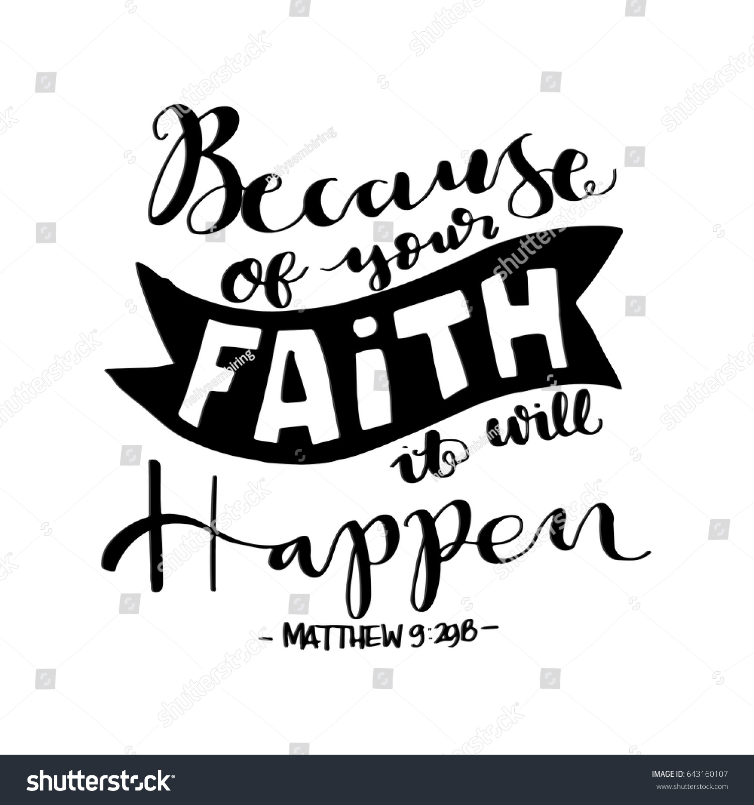 Bible Quotes On Faith Because Your Faith Bible Verse Hand Stock Vector 643160107