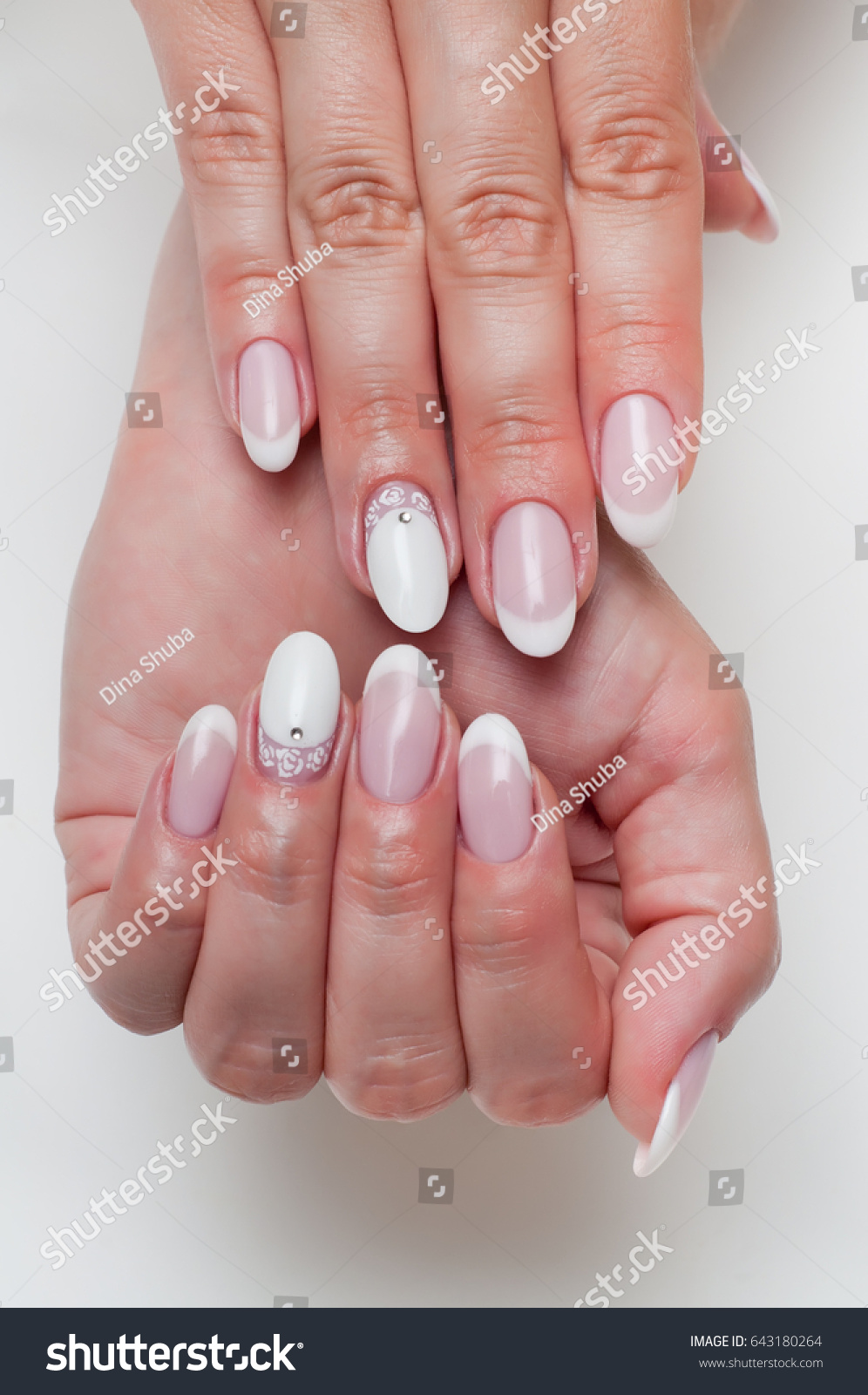 Wedding French Manicure Crystals On Long Stock Photo & Image ...