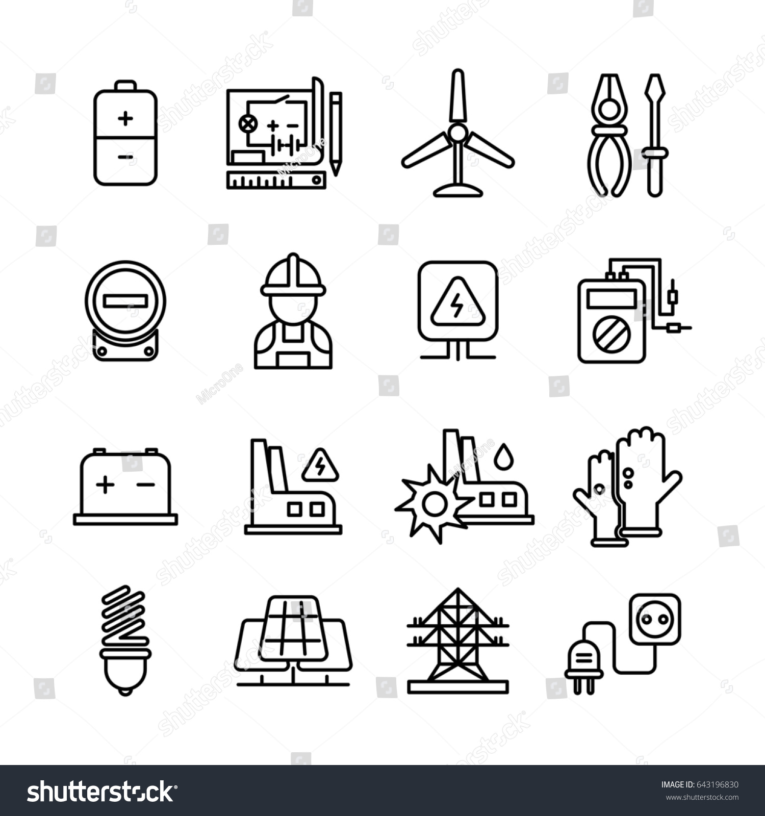 Electricity Industry Electrical Engineering Line Icons Stock