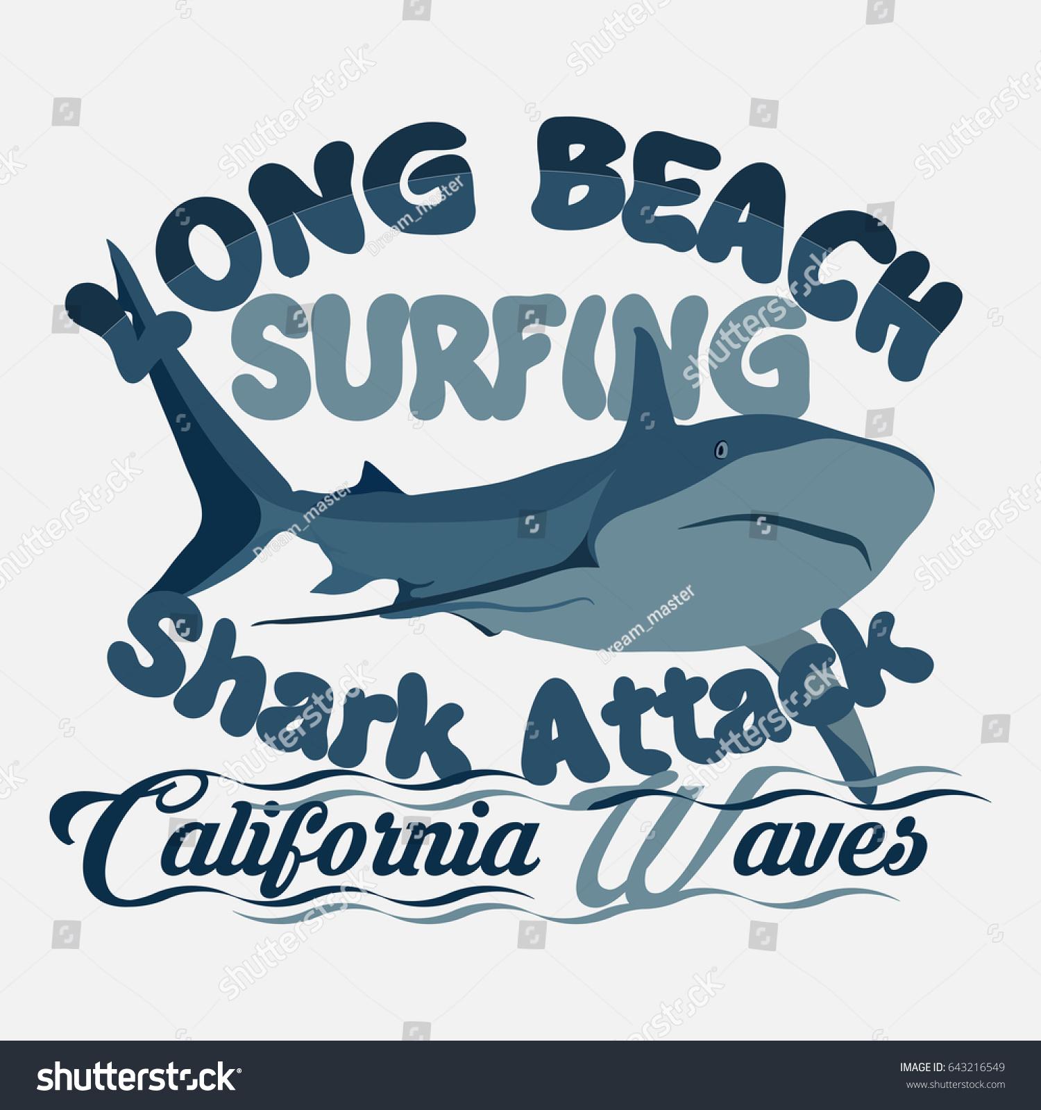 Tshirt Surfing Graphic Print Design Shark Stock Illustration