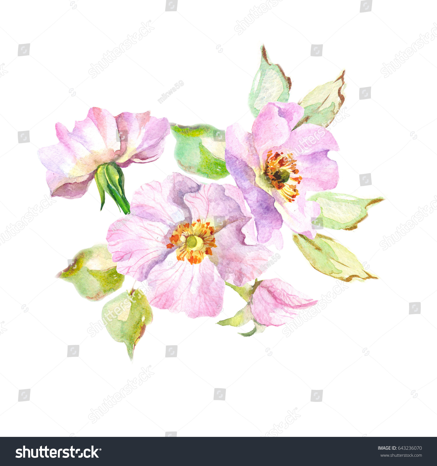 Blooming Bouquet With Watercolor Spring Flowers Ez Canvas