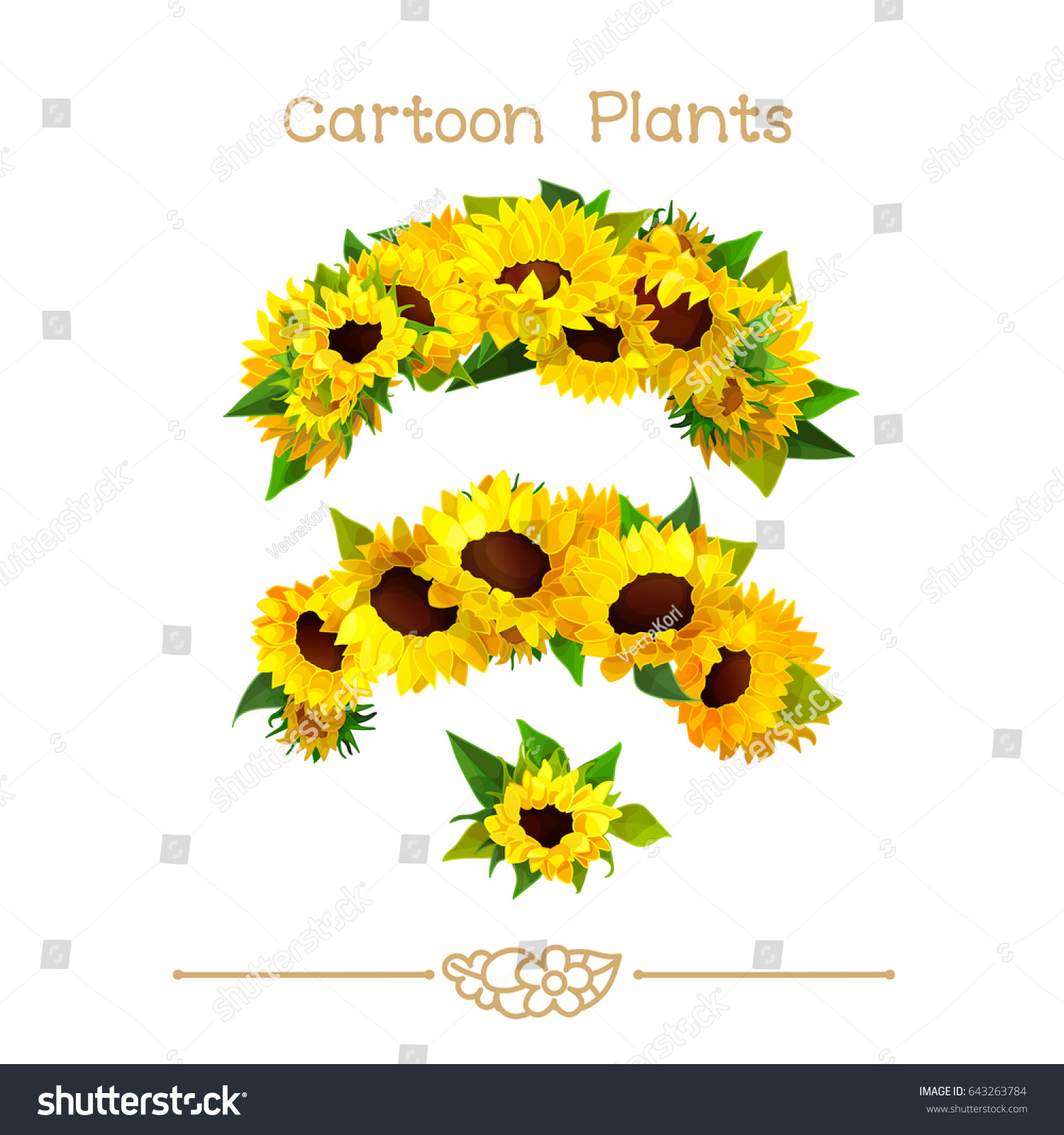 Vector Pic Series Cartoon Plants Sunflower Stock Vector Royalty