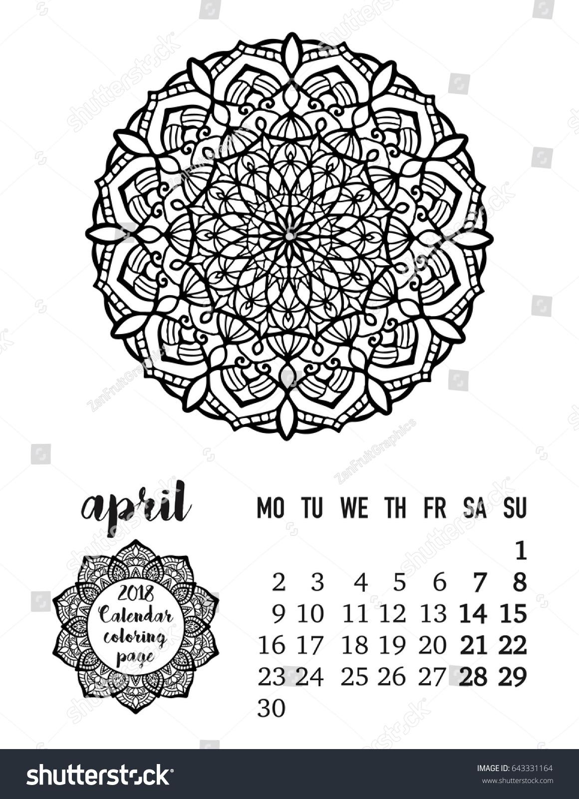 april monthly calendar 2018 beautiful hand stock vector 643331164
