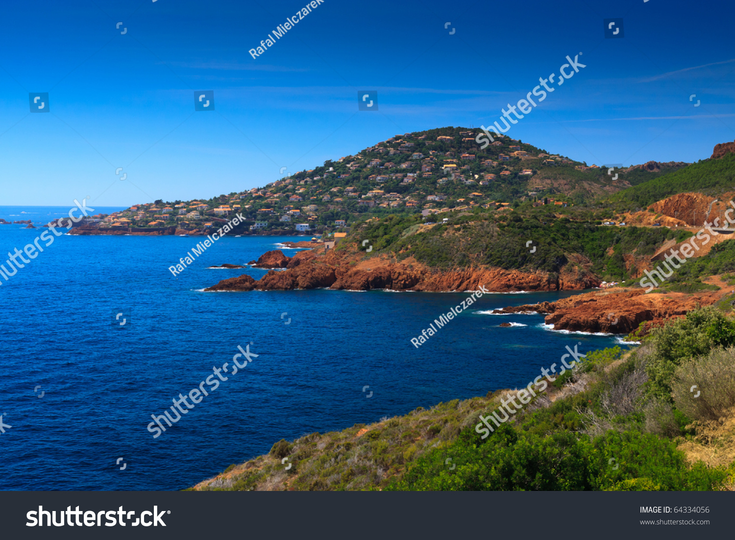 Catboat In A Small Bay French Riviera Stock Photo