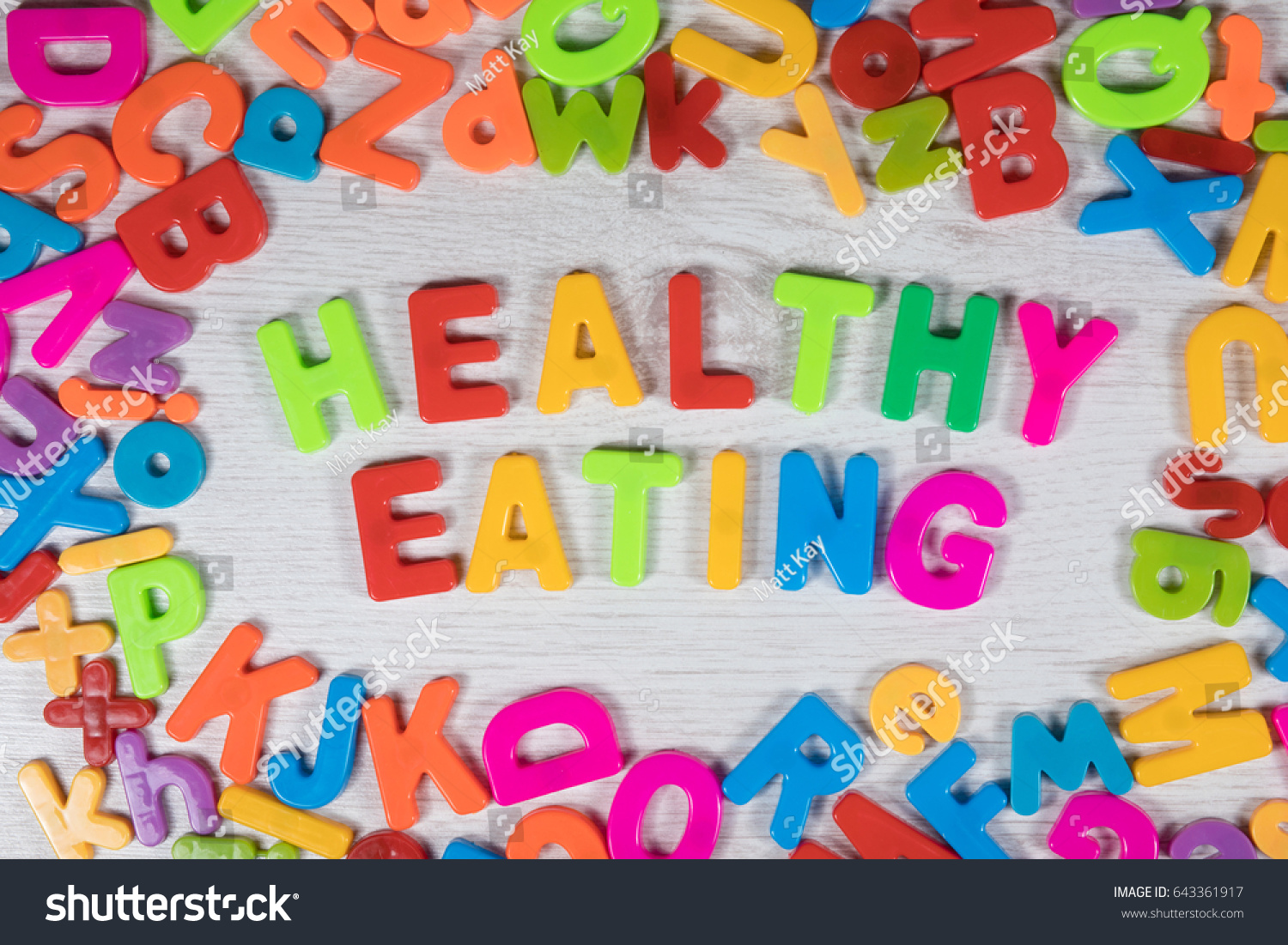 Magnet Letters Make Words Healthy Eating Stock Photo Edit Now