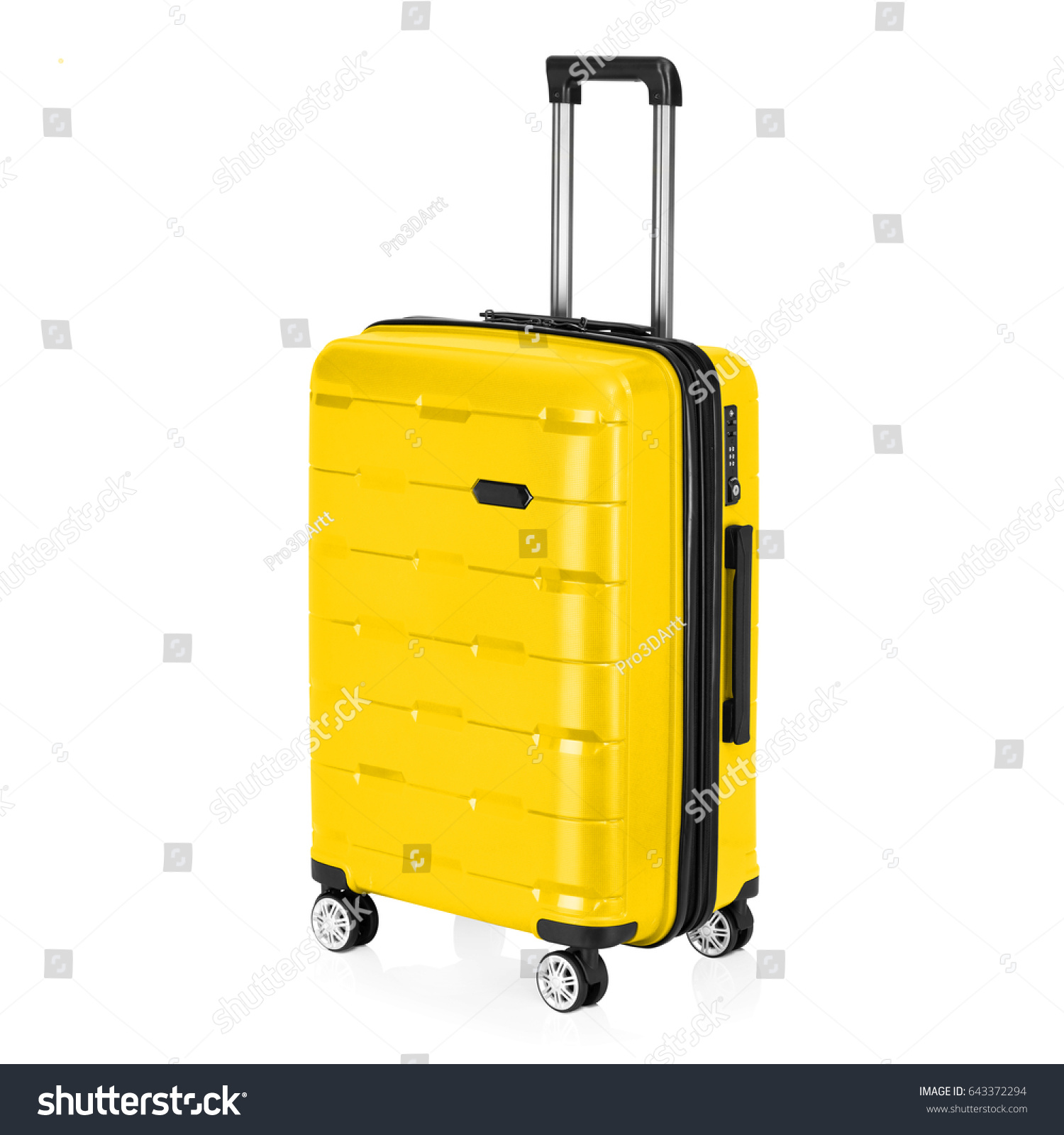 Yellow Trolley Luggage Bag Isolated On Stock Photo Edit Now