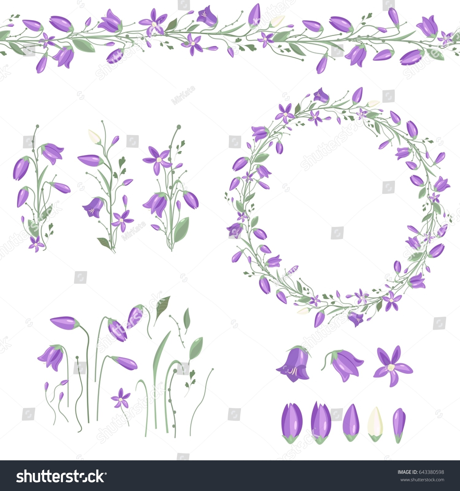 Round Frame Pretty Bluebells Spring Floral Stock Vector HD (Royalty ...