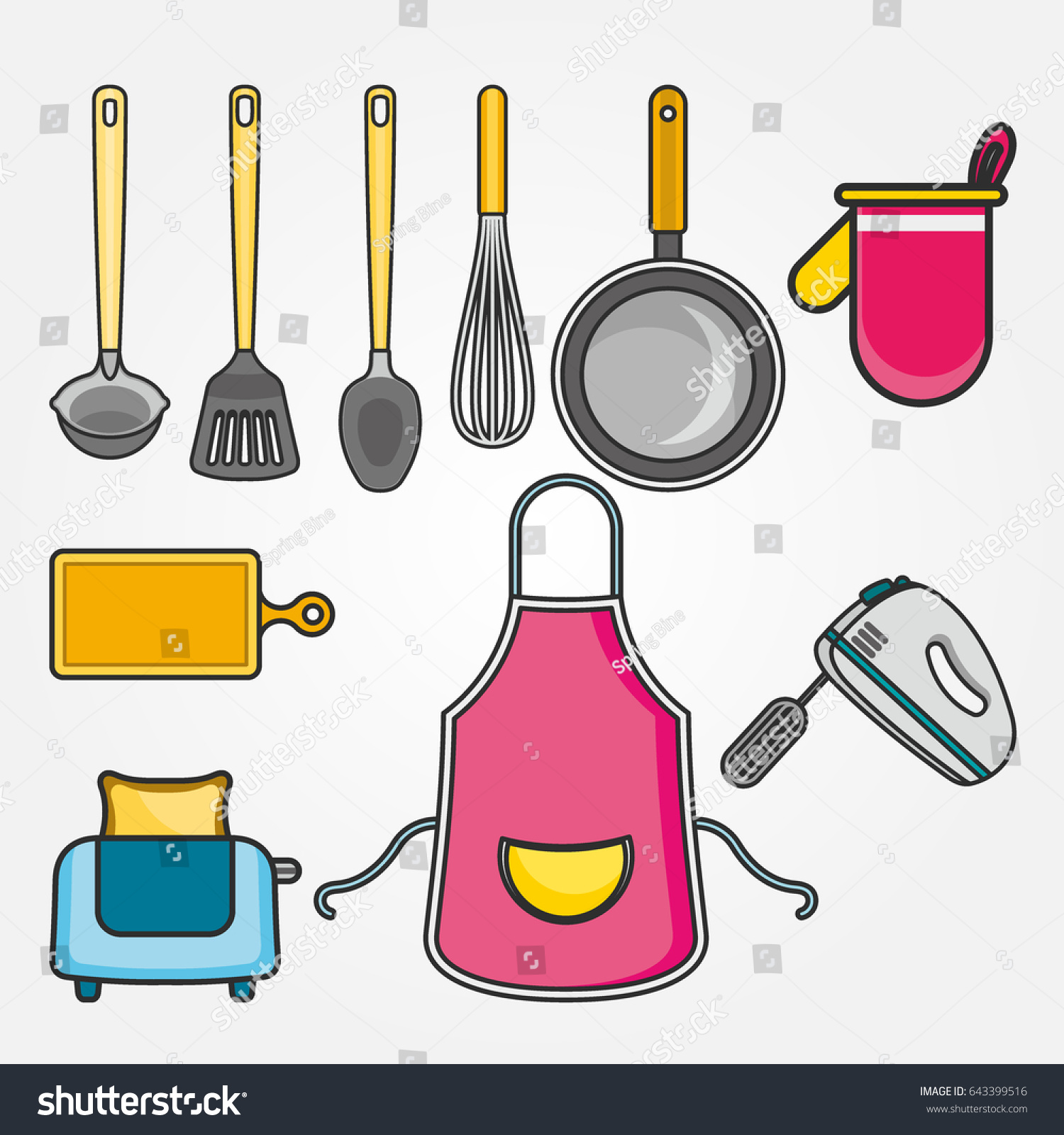 kitchen utensils set modern flat icons stock vector 643399516 kitchen utensils set modern flat icons set graphic elements objects for website