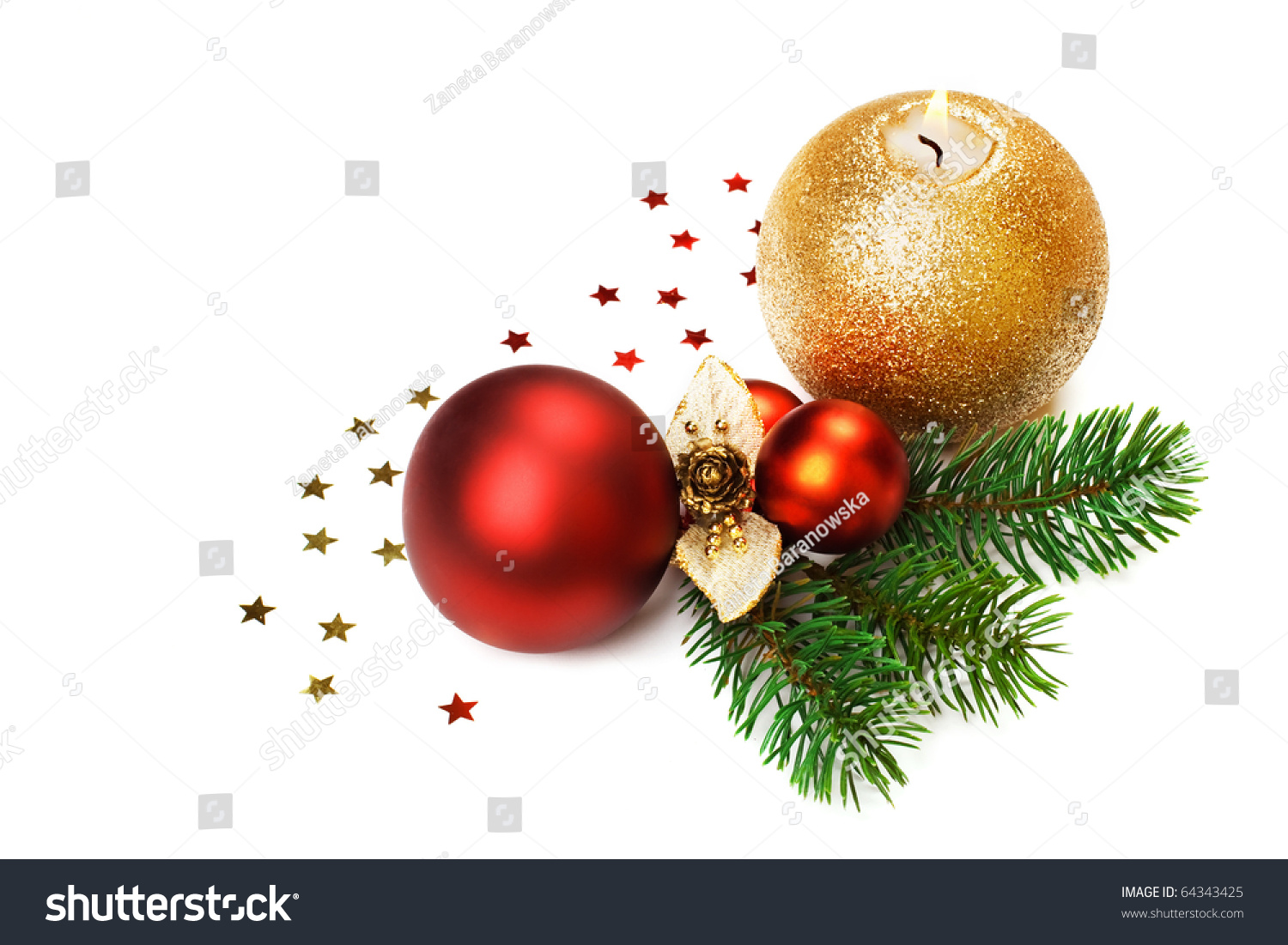 christmas candle decorations isolated stock photo 64343425